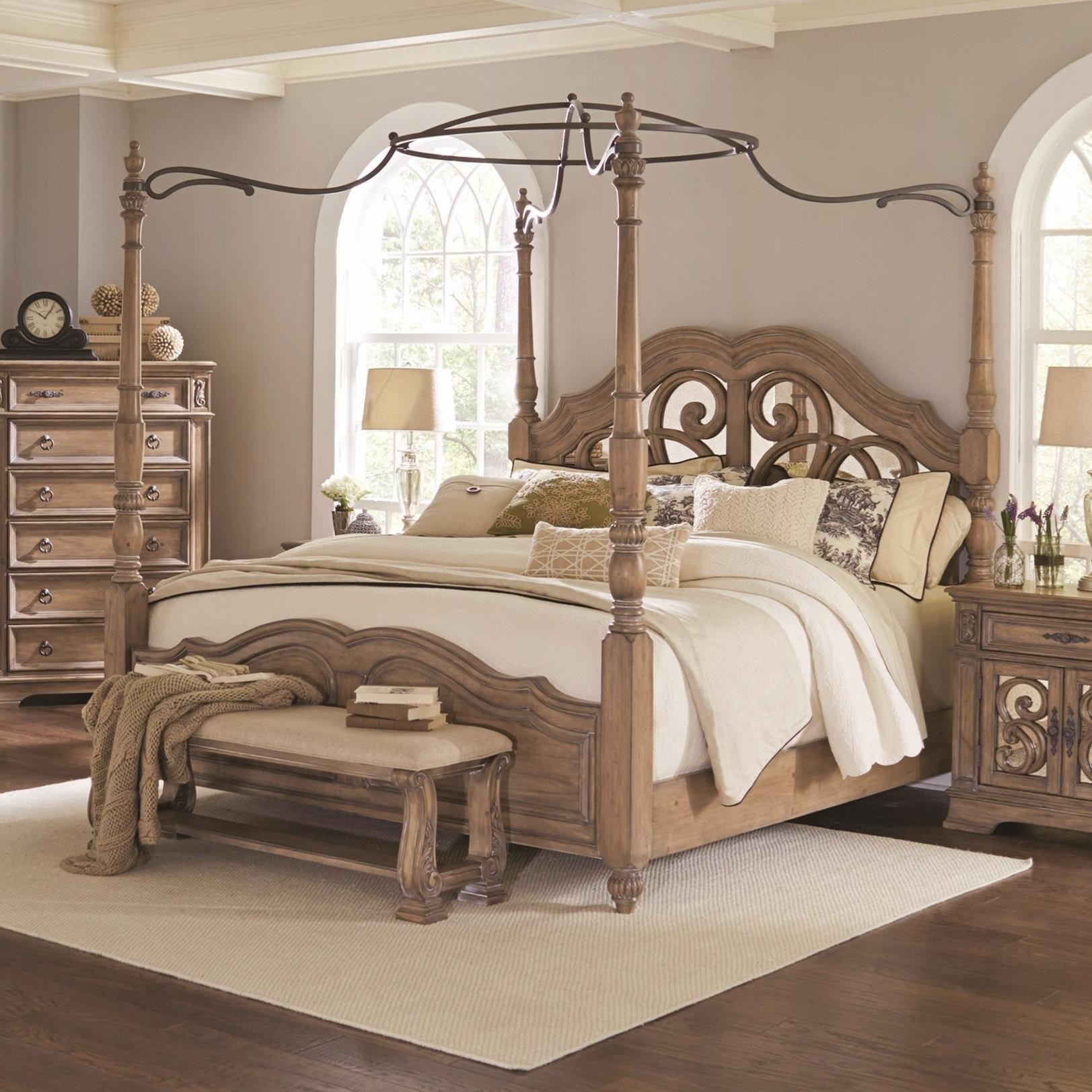 coaster ilana california king canopy bed with mirror back headboard