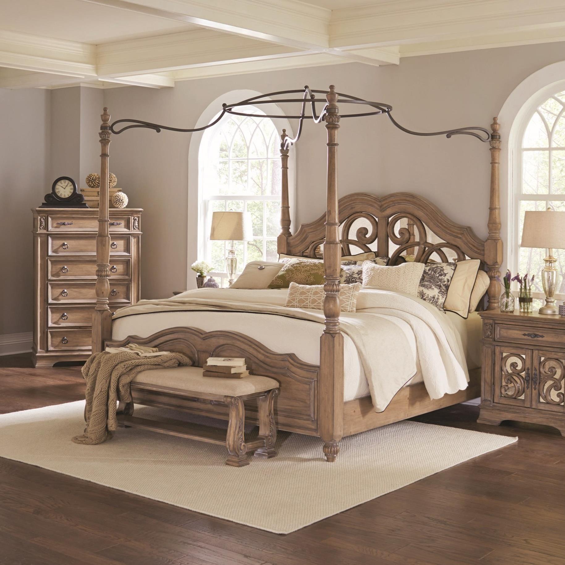Coaster Ilana Queen Canopy Bed with Mirror Back Headboard