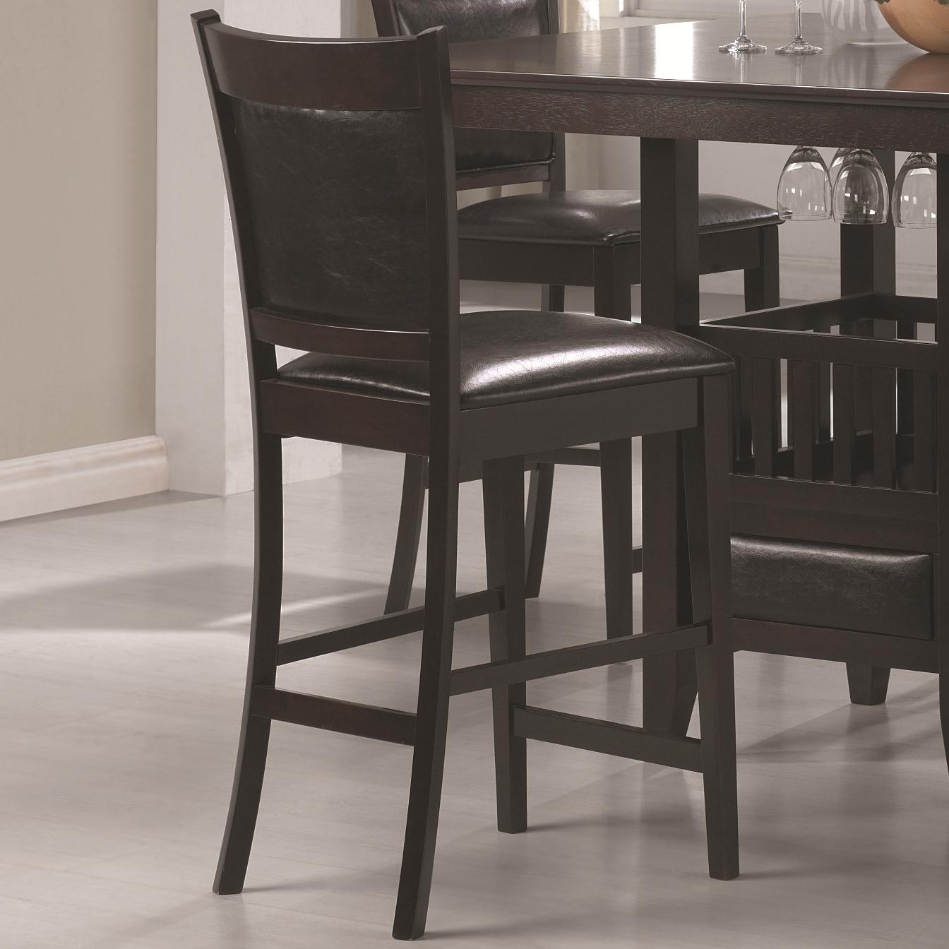 coaster jaden counter height stool with vinyl padded seat back value city furniture bar stools. Black Bedroom Furniture Sets. Home Design Ideas
