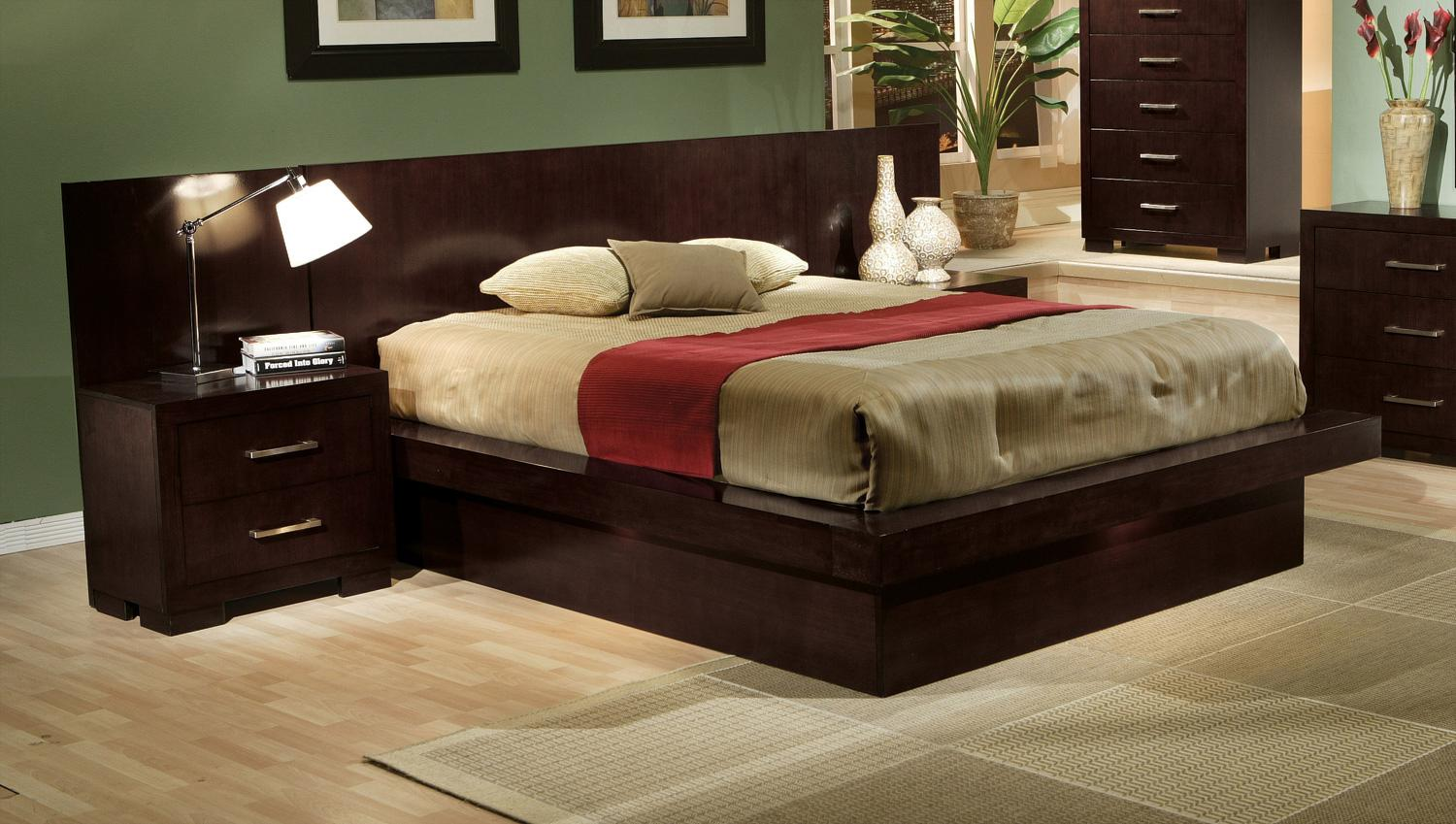 Coaster jessica queen pier platform bed with rail seating and lights rife 39 s home furniture Home furniture queen size bed
