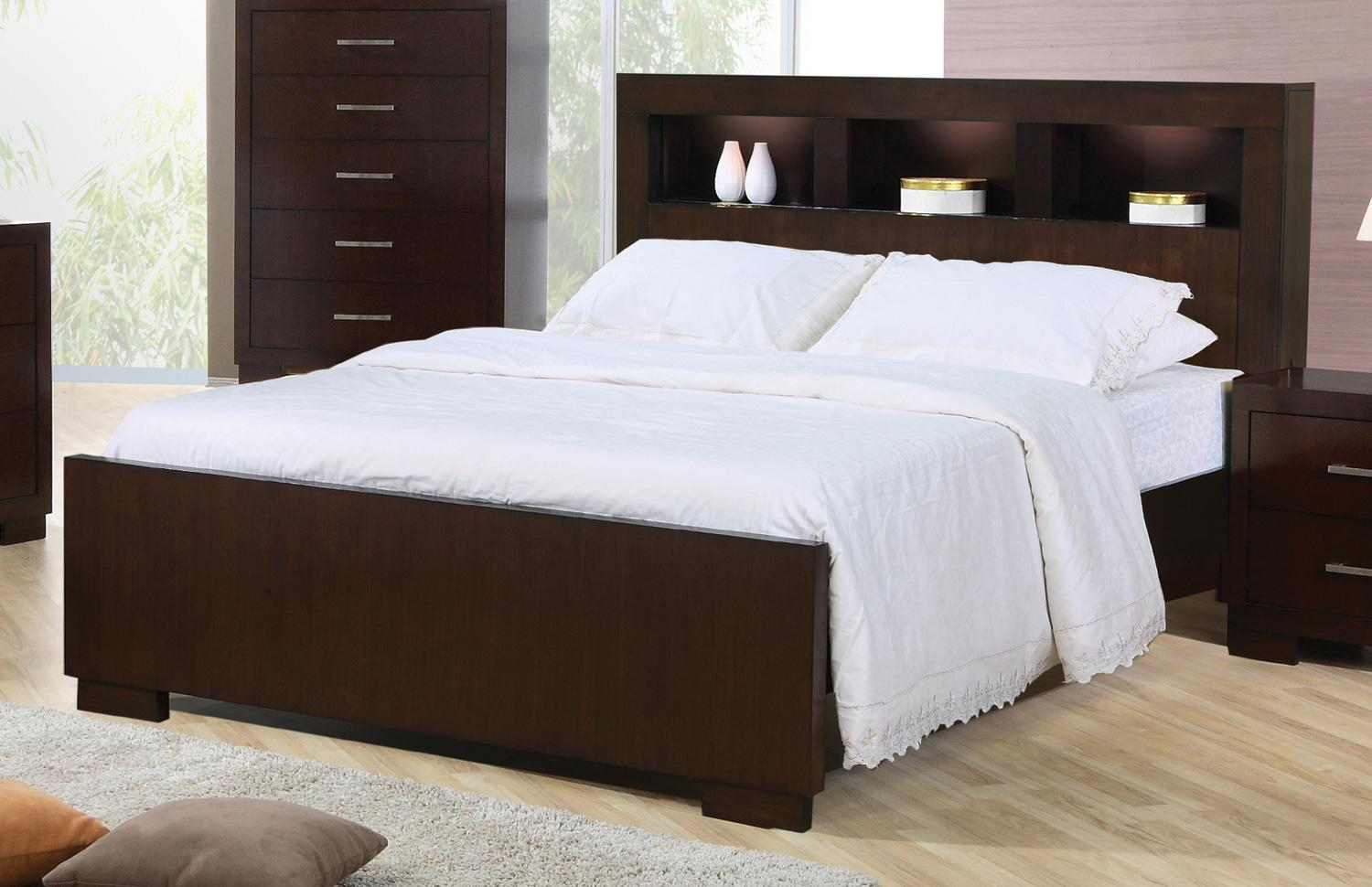 Coaster Jessica 200719ke King Contemporary Bed With Storage Headboard And Built In Lighting