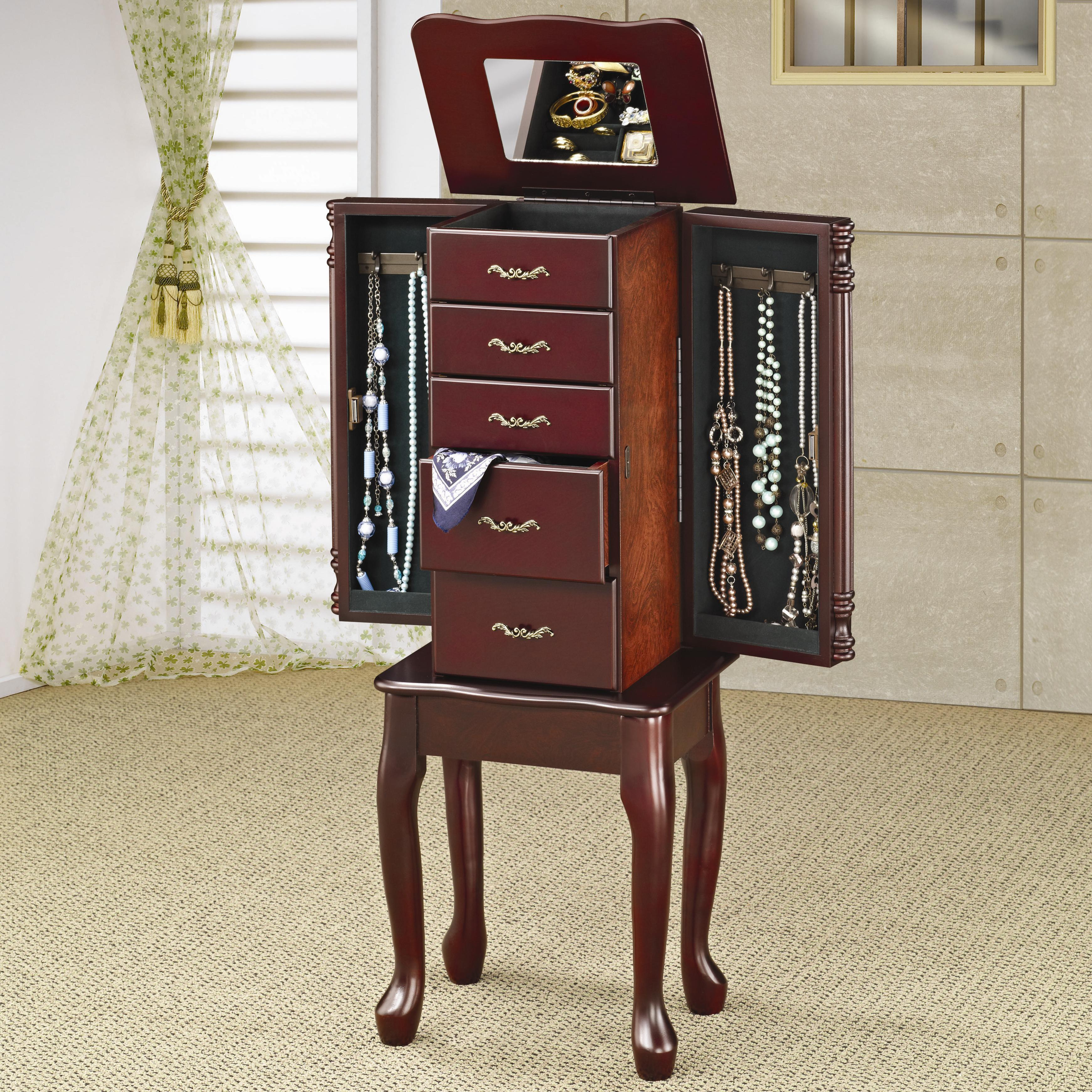 coaster jewelry armoires traditional queen anne style. Black Bedroom Furniture Sets. Home Design Ideas