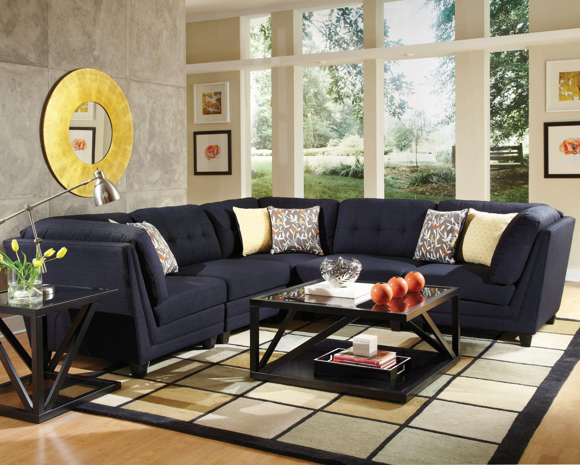 Coaster Keaton Transitional Five Piece Sectional Sofa With Tufting Dream Home Furniture