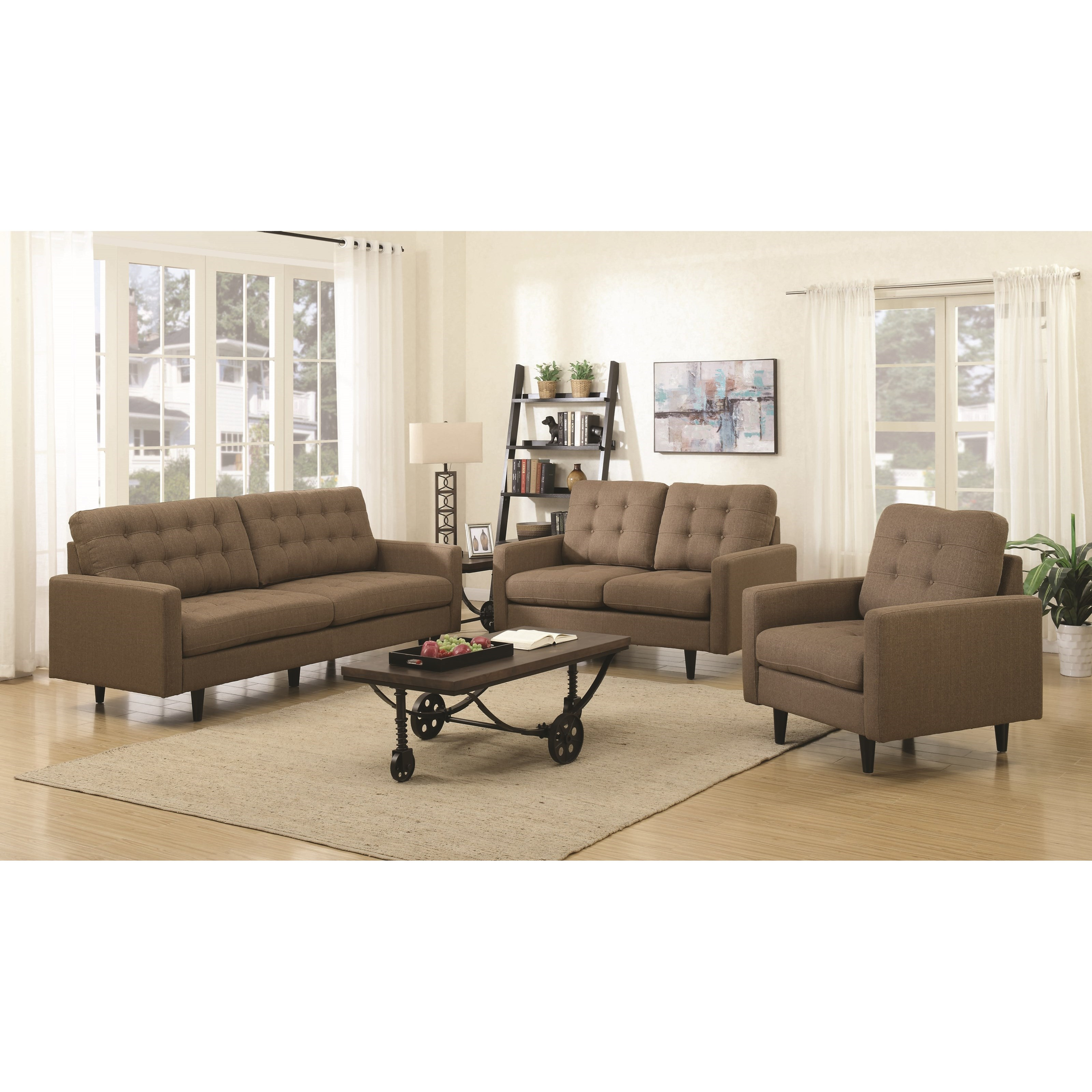Coaster kesson mid century modern living room group for Living room furniture groups