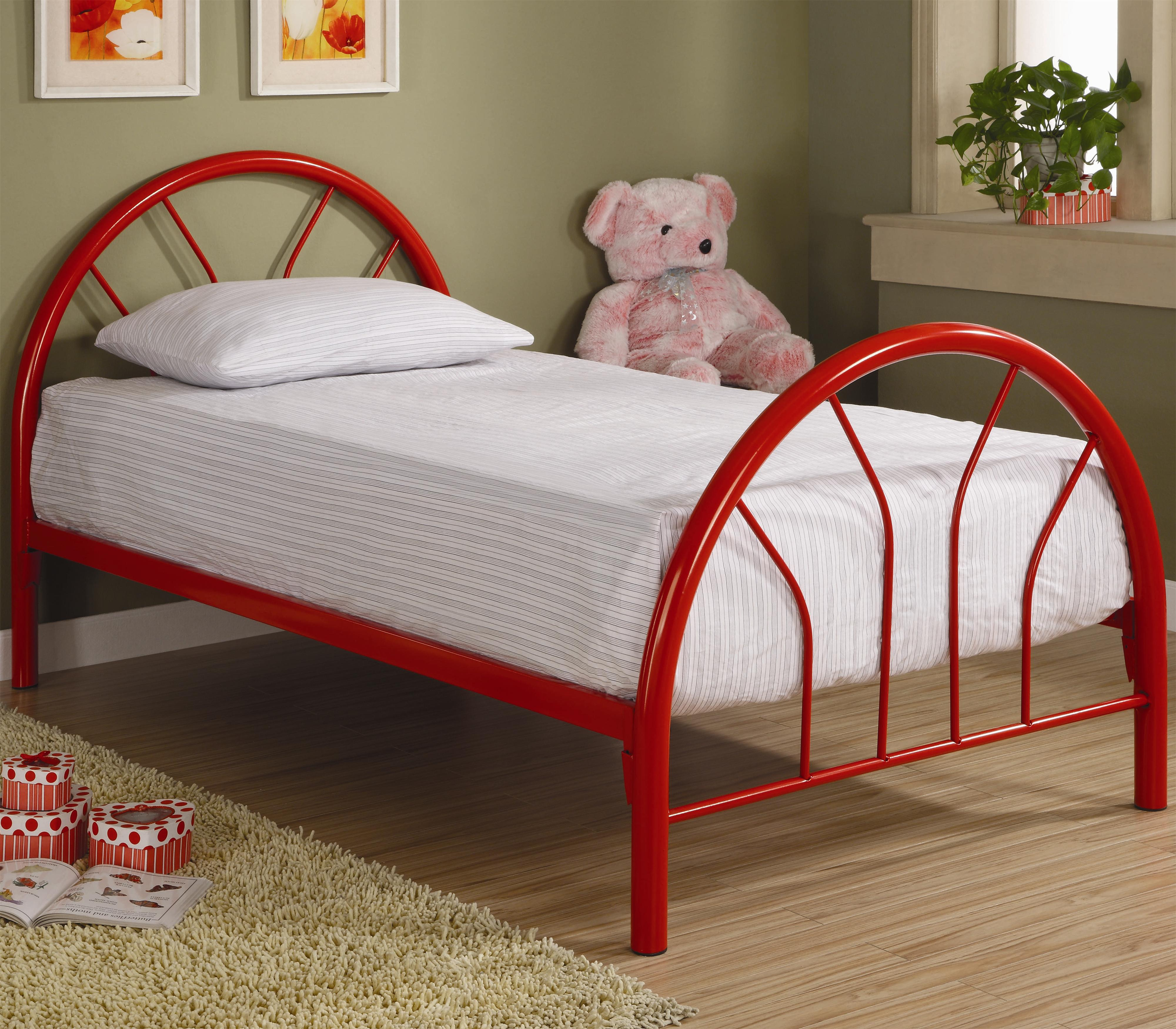 Coaster fordham twin metal bed dunk bright furniture for Twin footboard