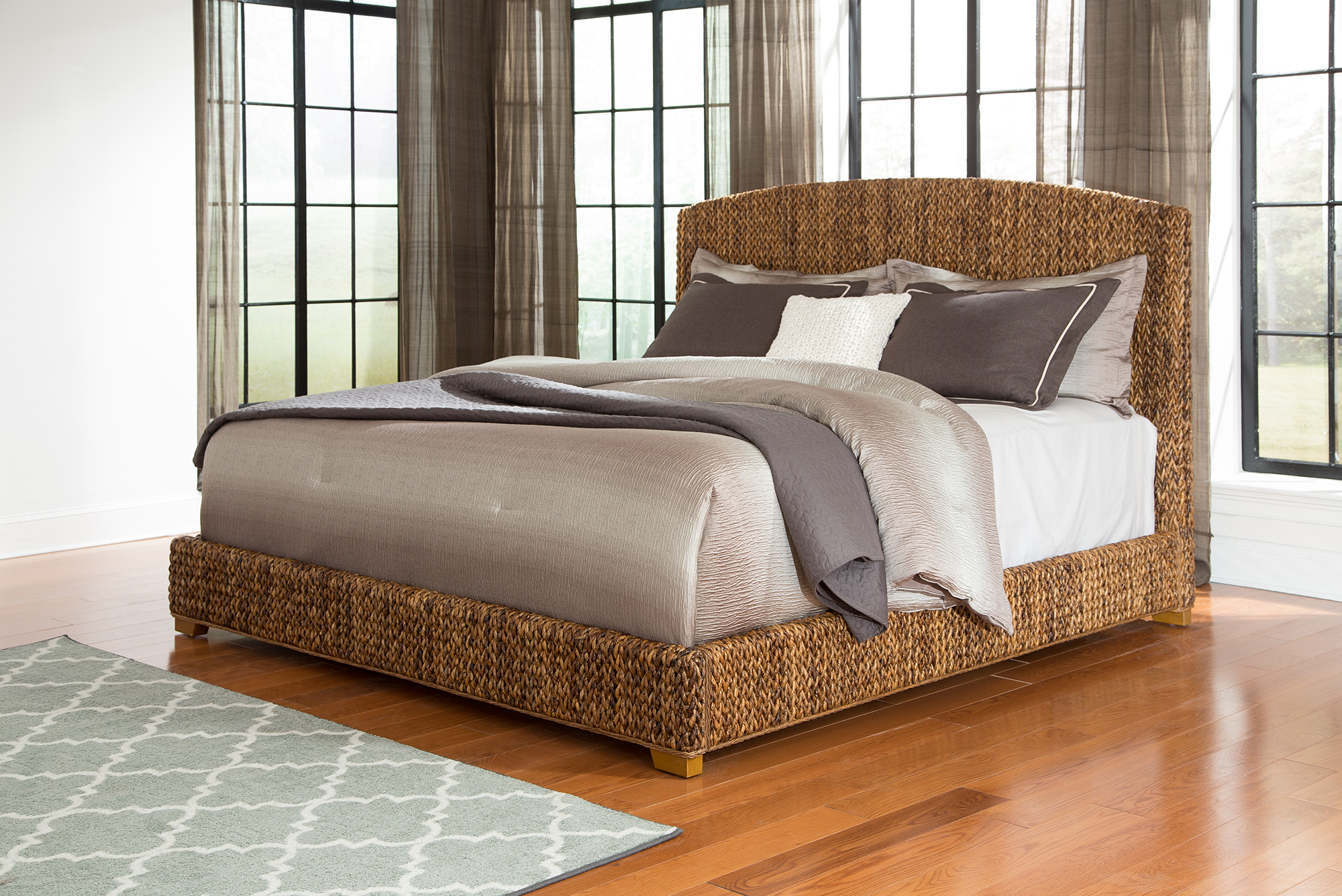 Coaster Laughton 300501q Woven Banana Leaf Queen Bed Dunk Bright Furniture Platform Beds