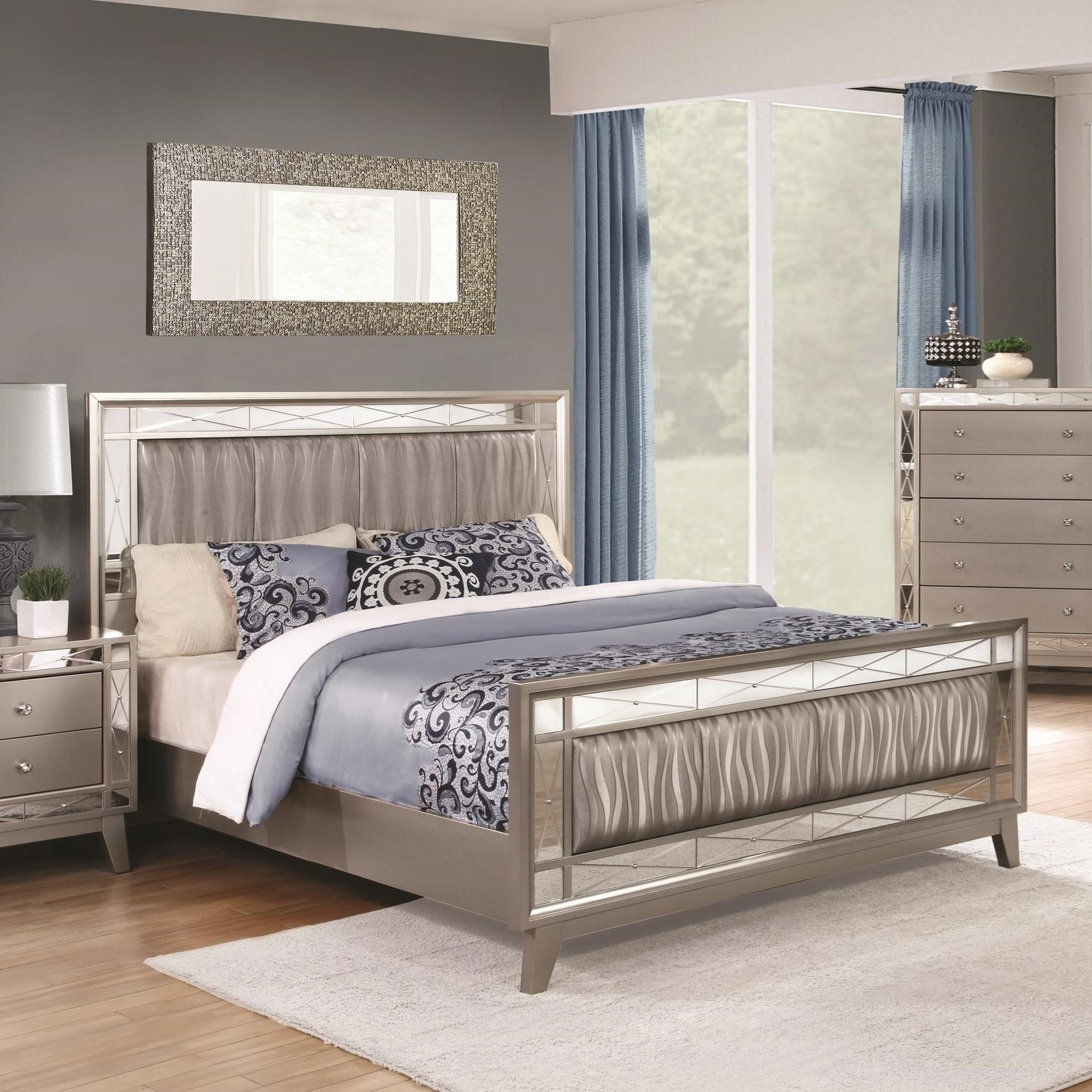 Coaster Leighton 204921ke King Bed With Mirrored Panel Accents Dunk Bright Furniture Panel