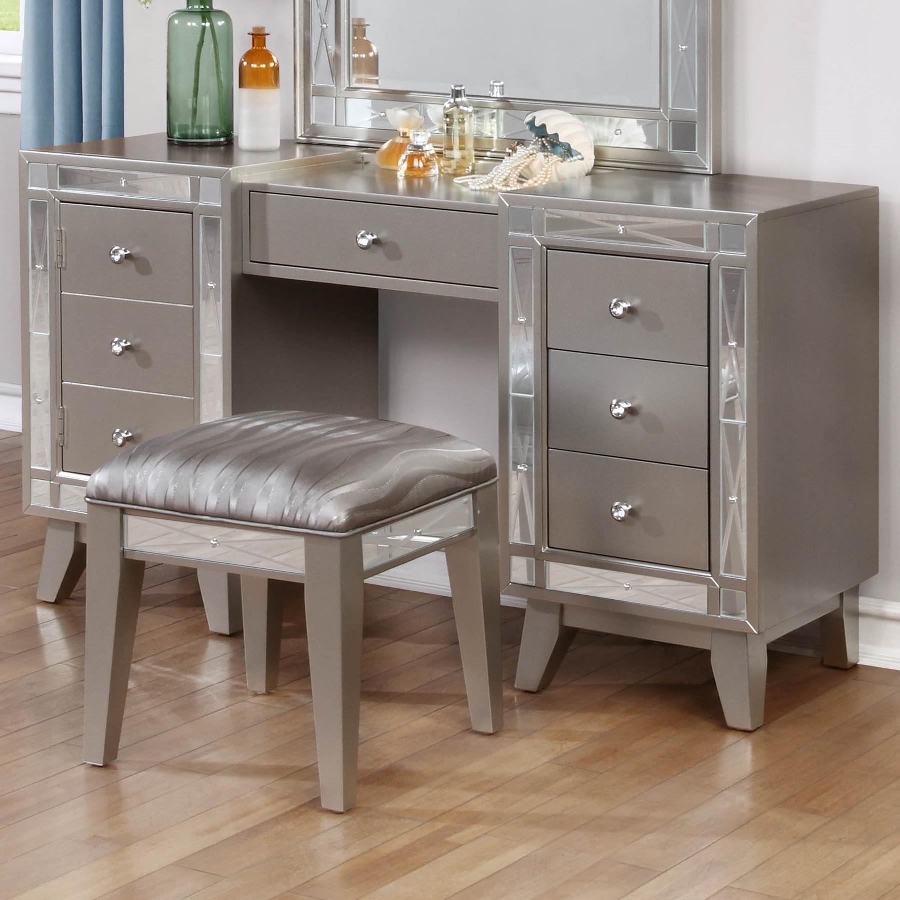 Coaster leighton vanity desk stool value city for Vanity desk set