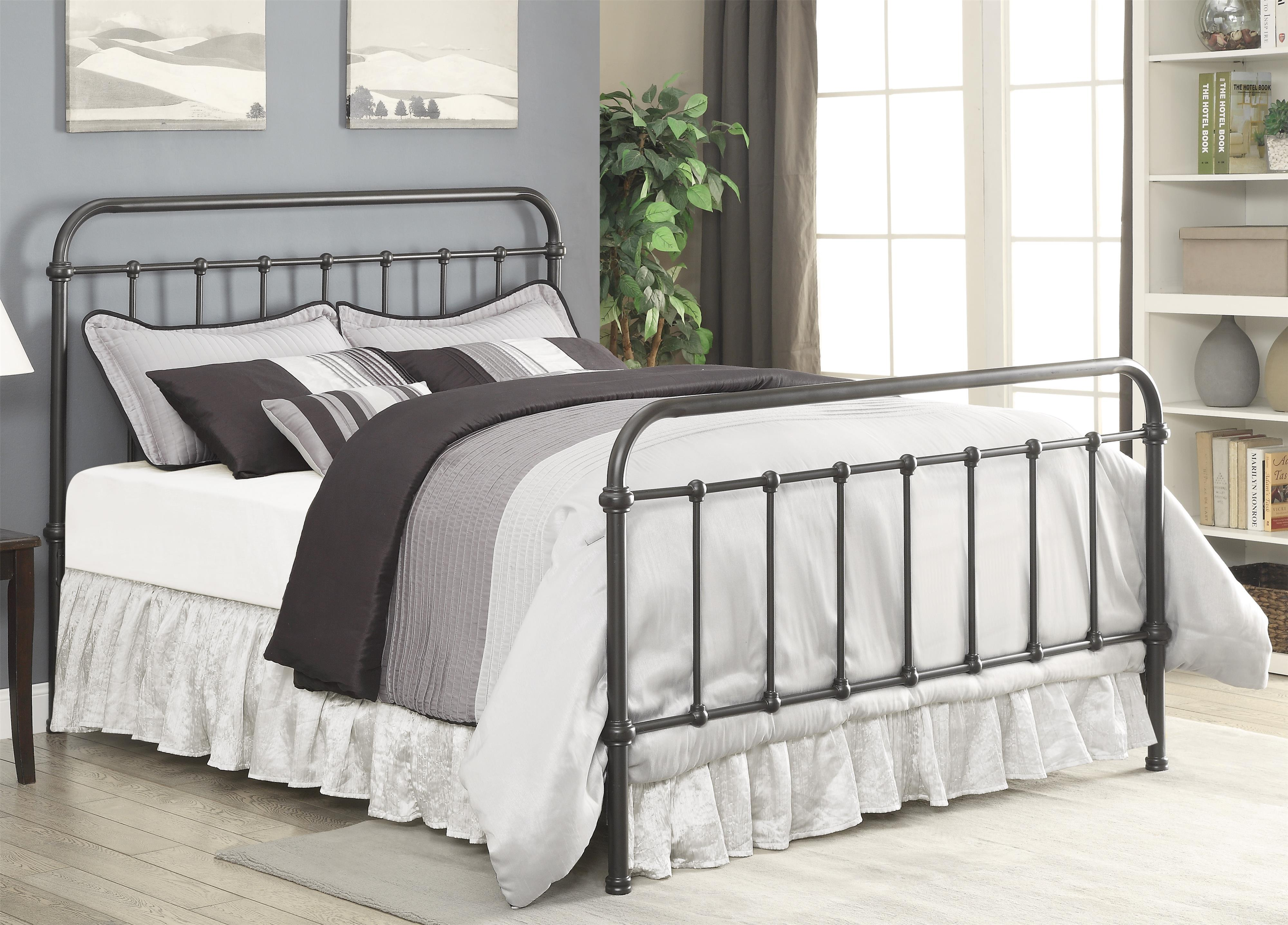 coaster livingston 300399kw transitional california king metal bed dunk bright furniture. Black Bedroom Furniture Sets. Home Design Ideas