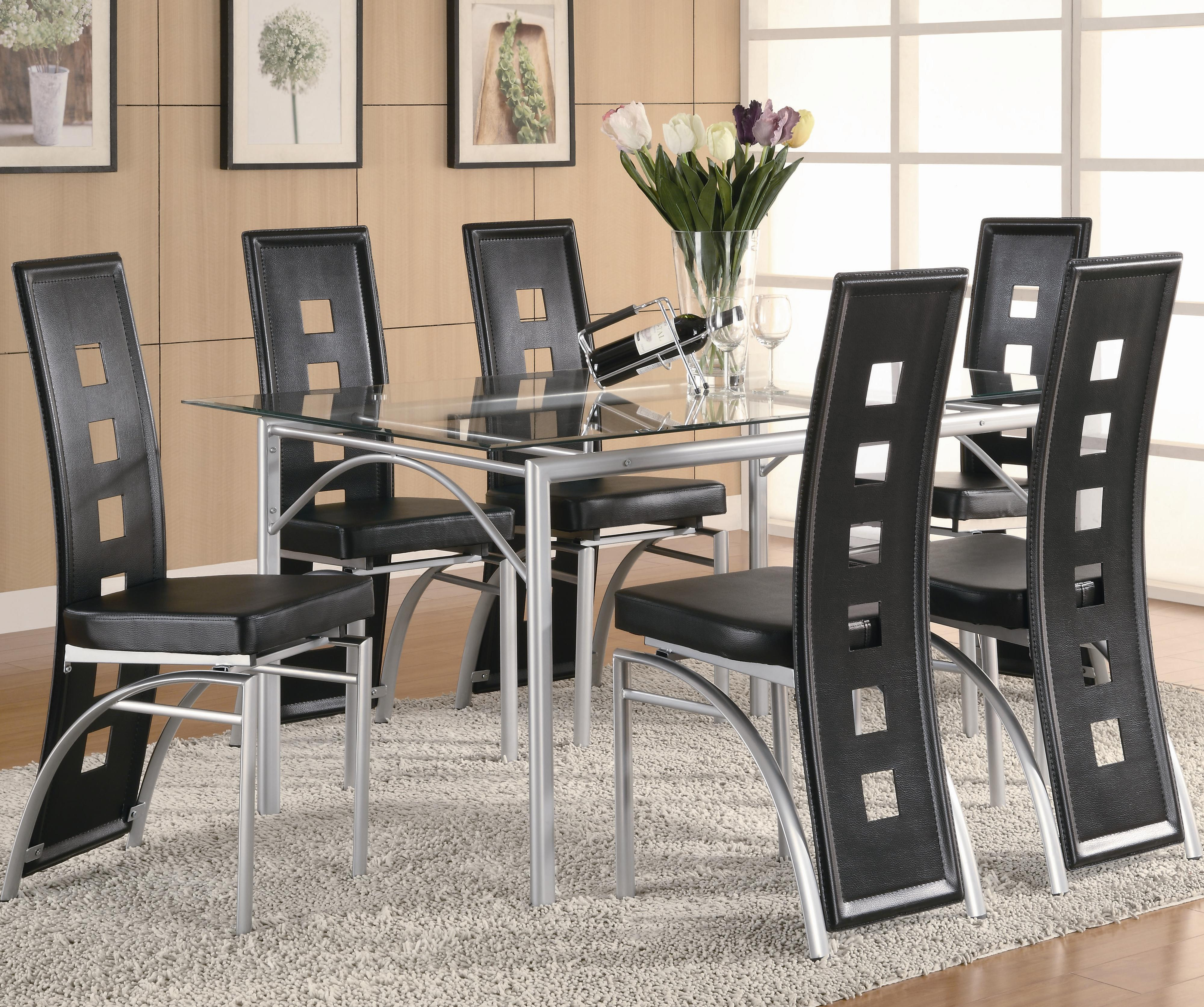 coaster los feliz contemporary metal table and black upholstered chairs value city furniture. Black Bedroom Furniture Sets. Home Design Ideas