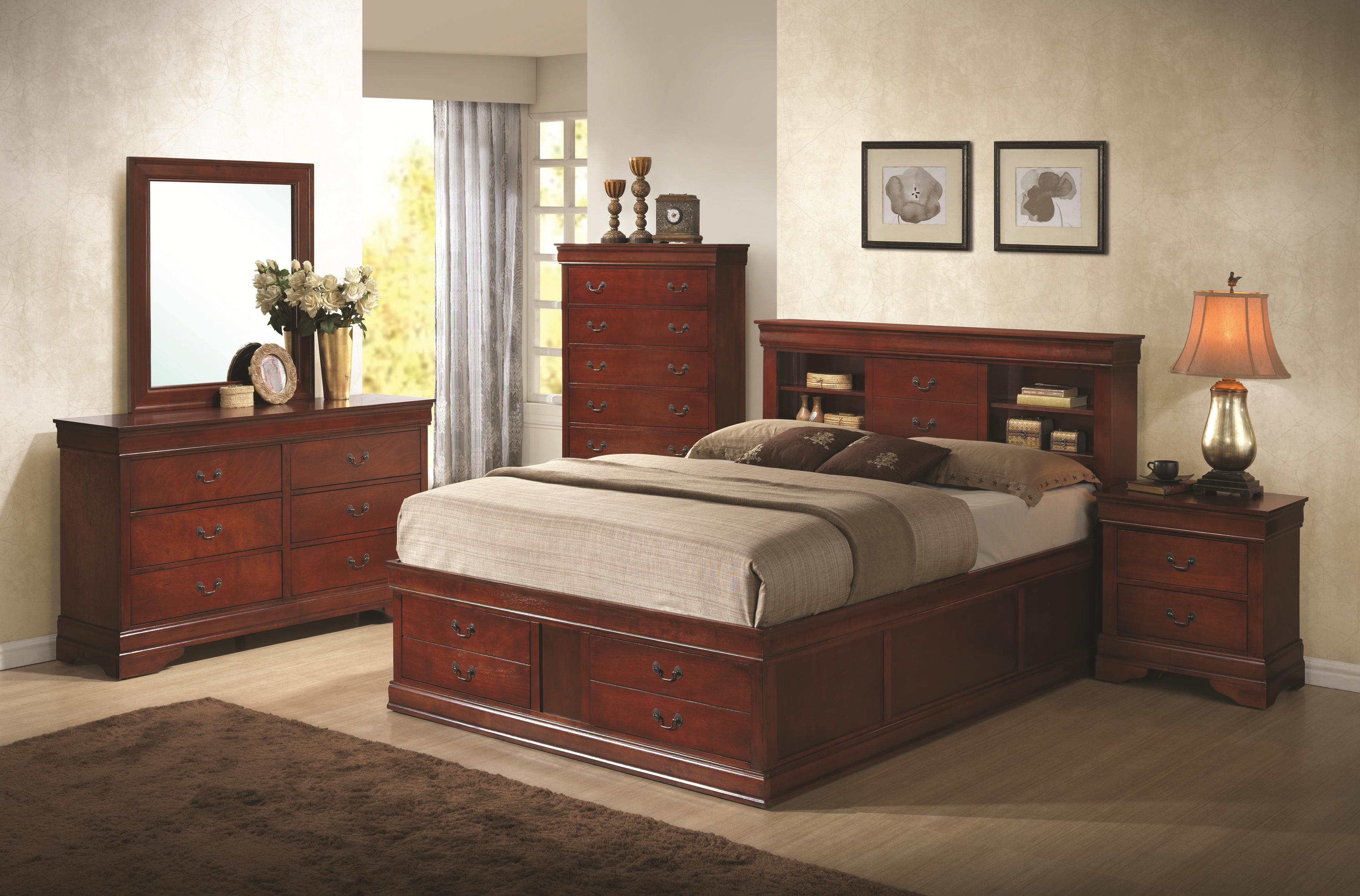 Coaster louis philippe queen bedroom group dunk bright for Bedroom furniture groups