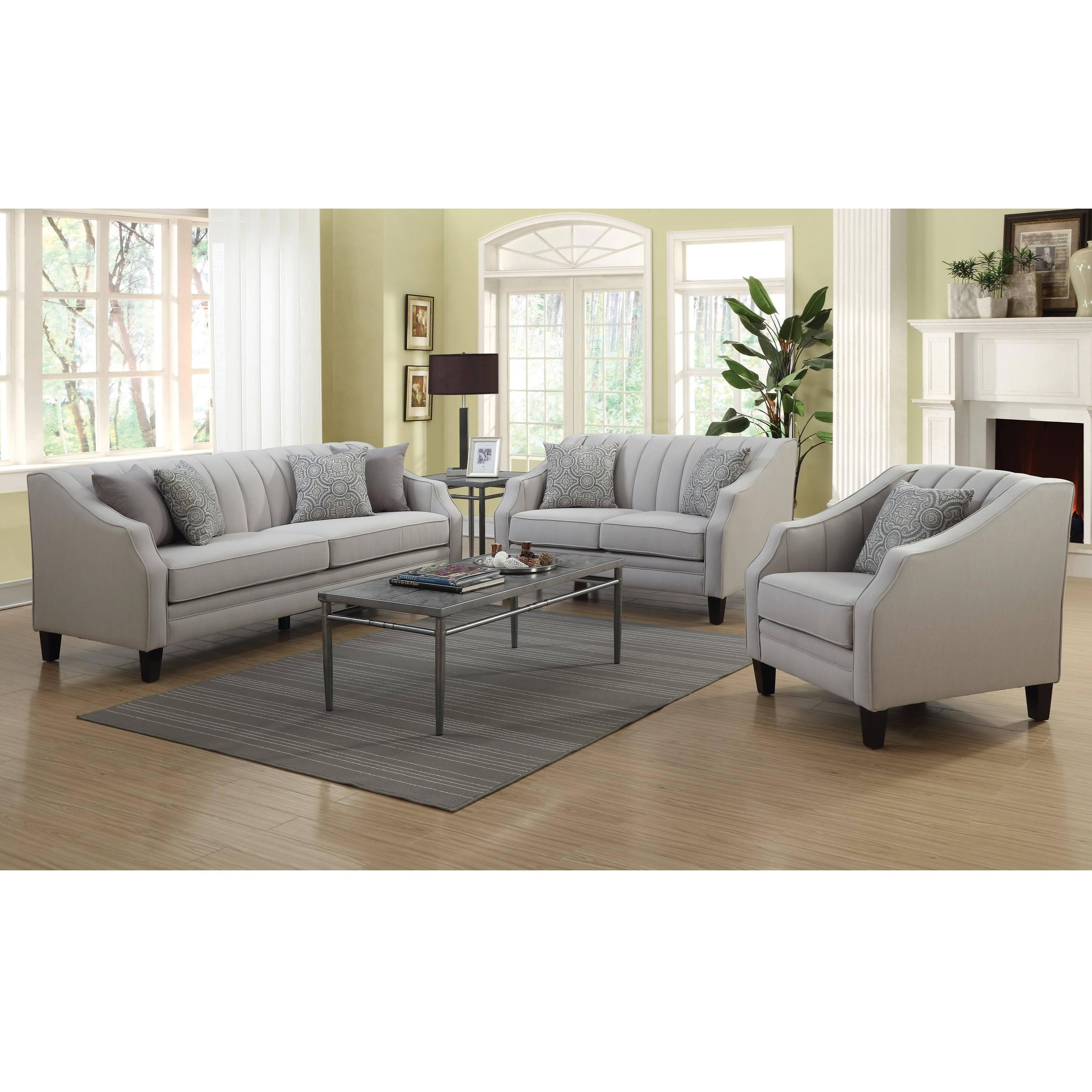 Coaster loxley stationary living room group value city for Living room furniture groups