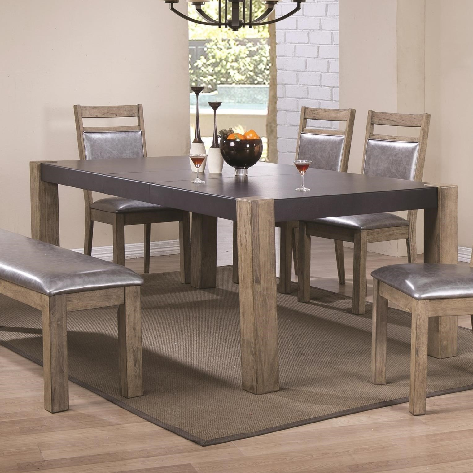 Coaster ludolf 107131 two tone finish dining table with for Dining room leaf