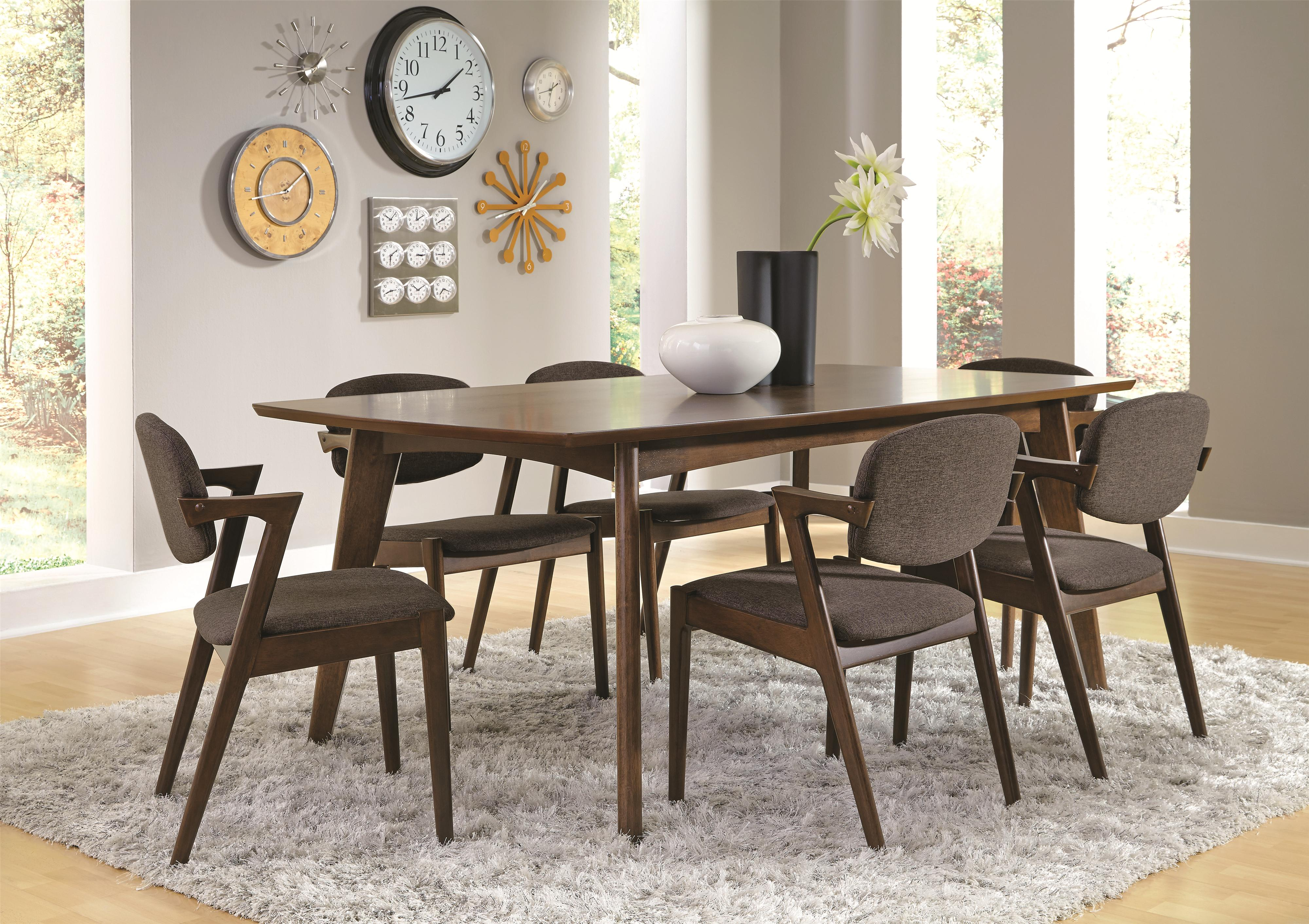 coaster malone mid century modern 7 piece dining set. Black Bedroom Furniture Sets. Home Design Ideas