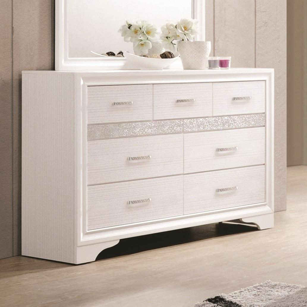 Coaster miranda 7 drawer dresser with hidden jewelry tray for Hidden jewelry drawer