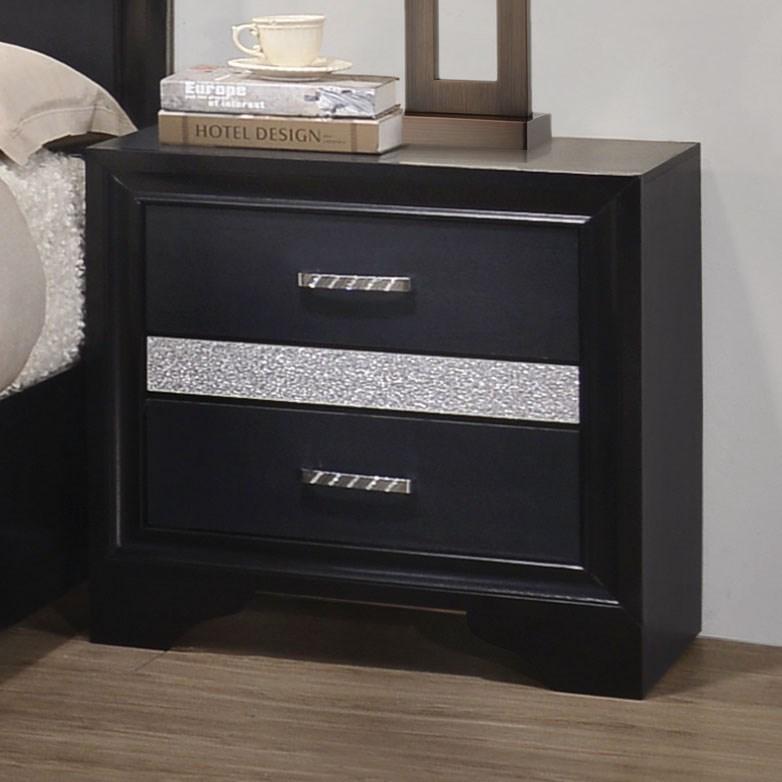 Coaster miranda 2 drawer night stand with hidden jewelry for Hidden jewelry drawer