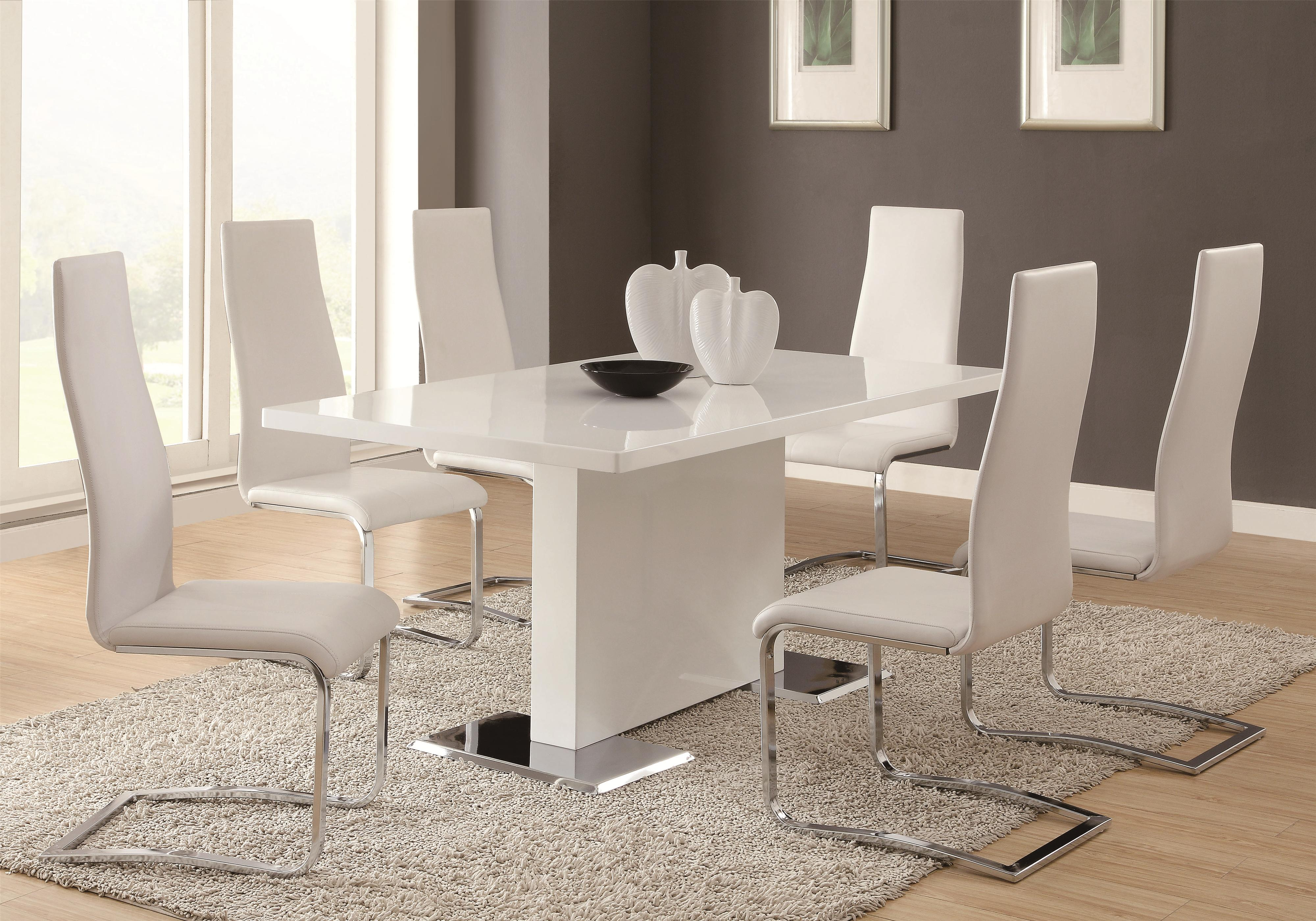 coaster modern dining 7 piece white table white upholstered chairs set dunk bright. Black Bedroom Furniture Sets. Home Design Ideas