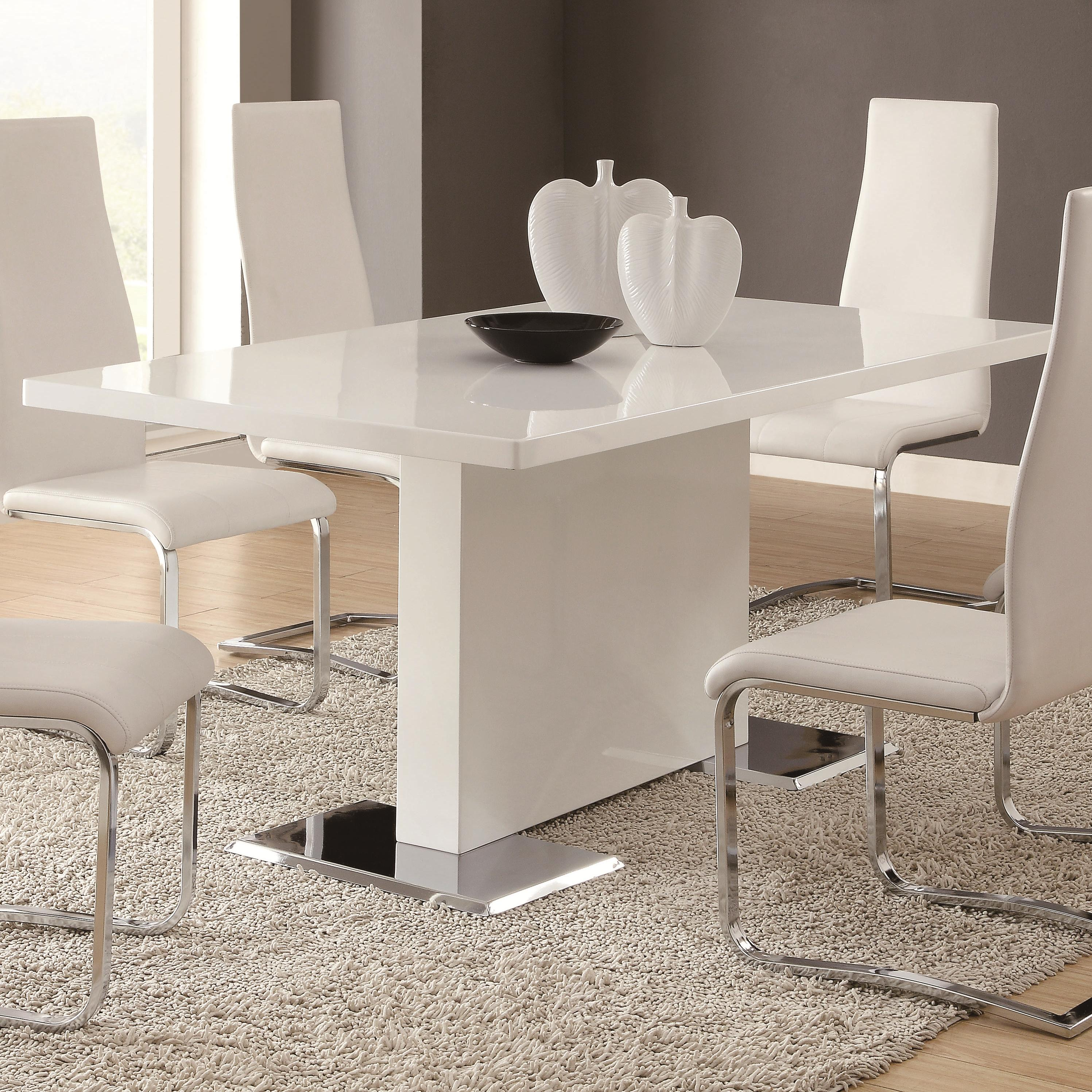 Coaster modern dining 102310 white dining table with for Modern white dining table and chairs