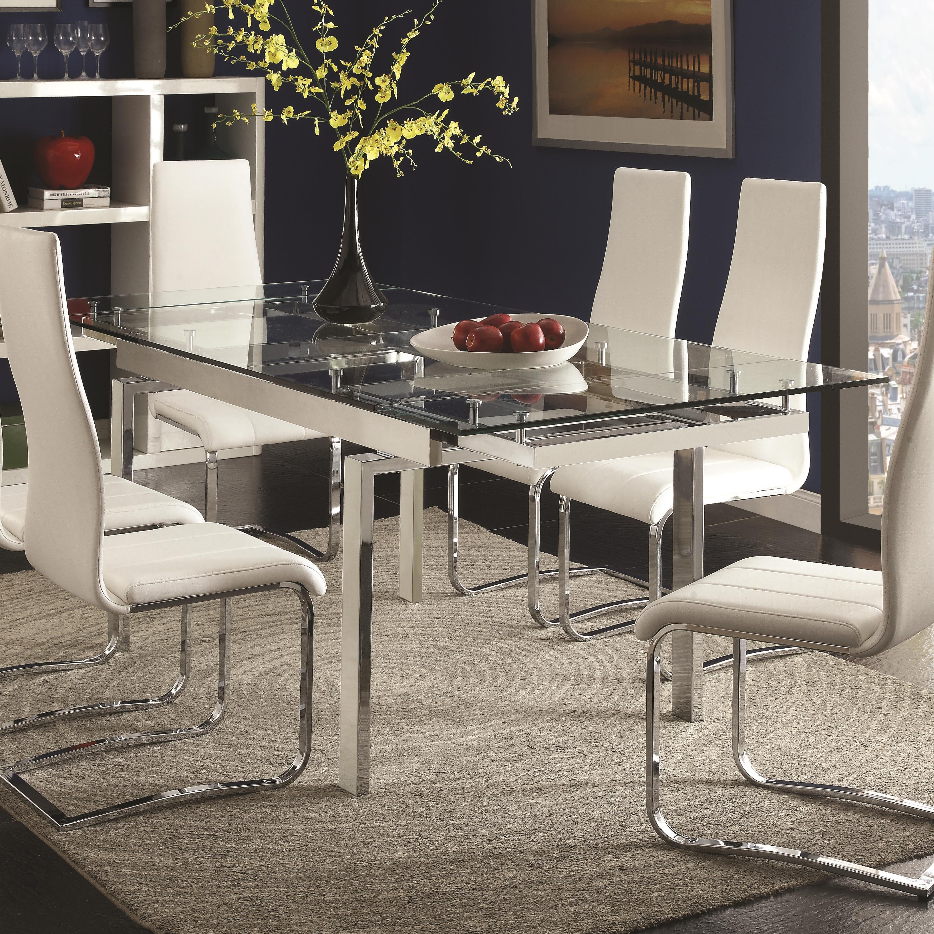 Coaster modern dining 106281 contemporary glass dining for Modern glass dining tables