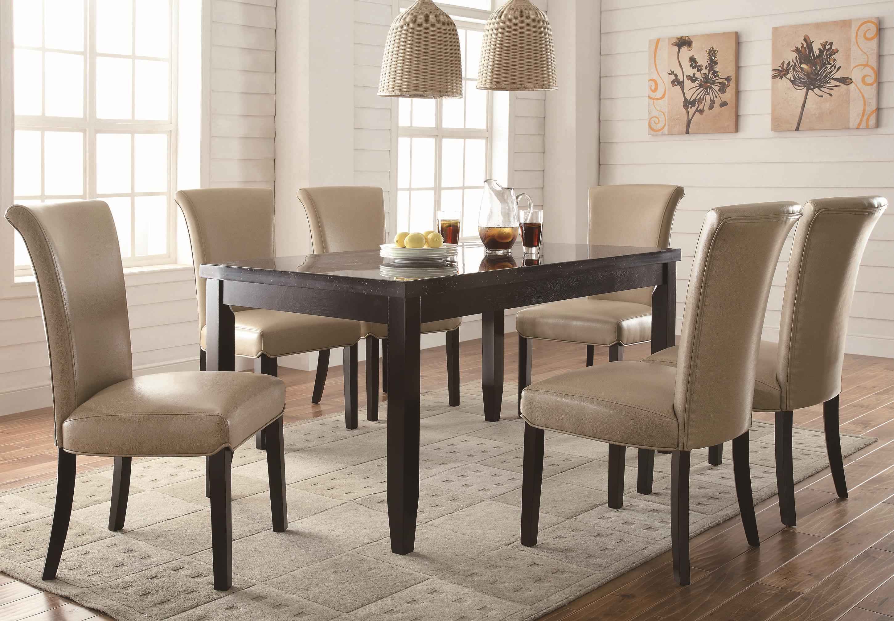 coaster newbridge 7 piece dining table chair set del