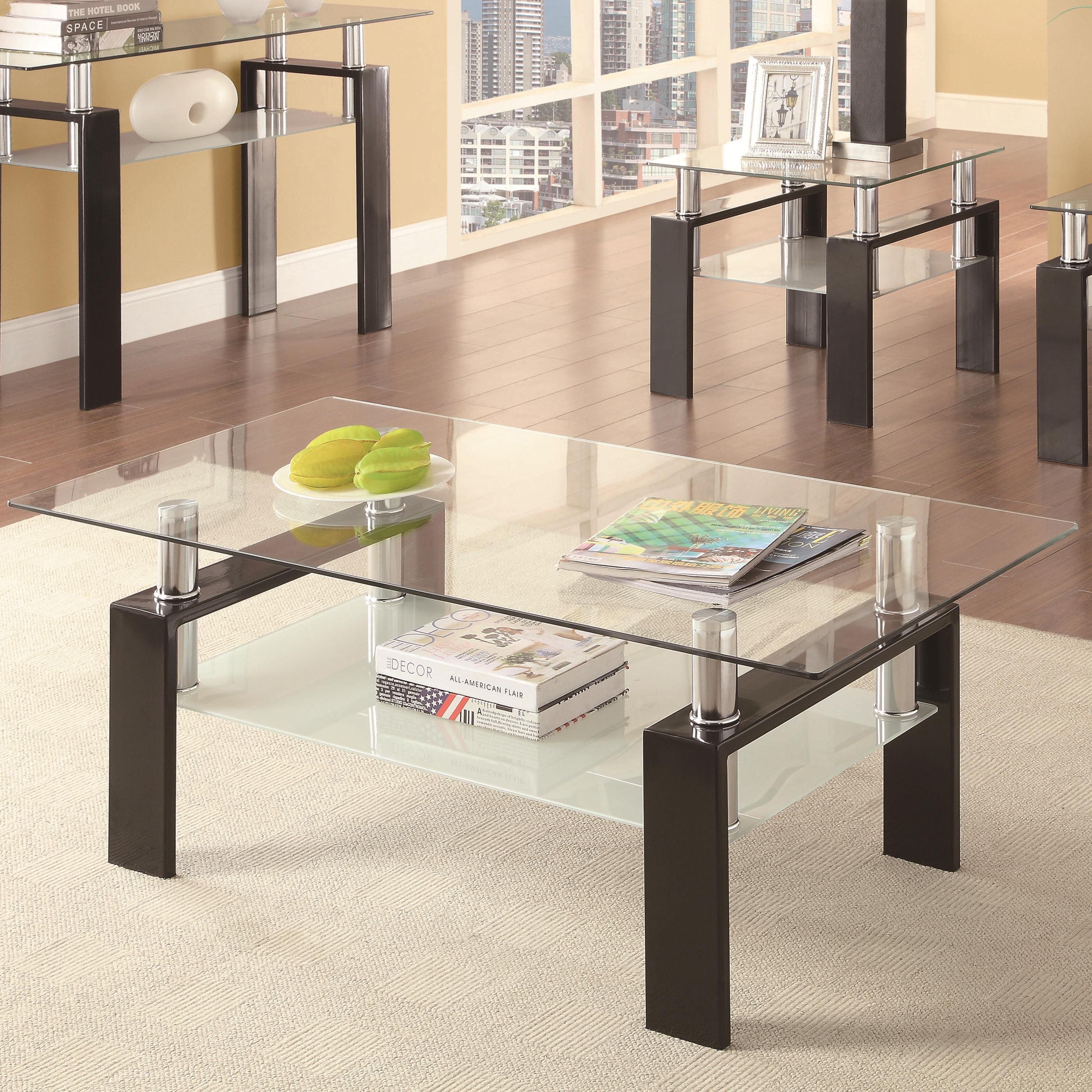 Coaster Occasional Group 702280 702288 Tempered Glass Coffee Table Dunk Bright Furniture