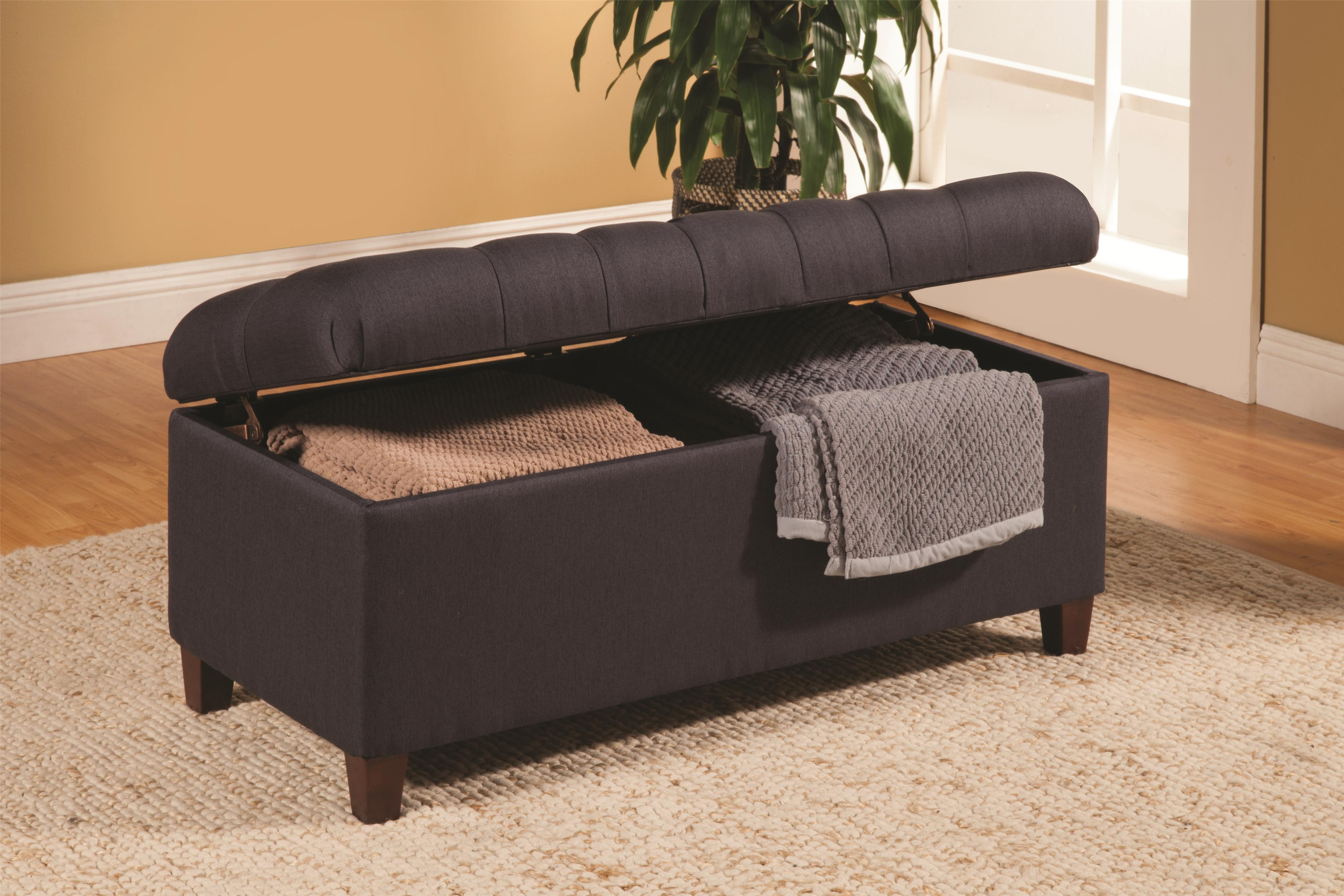 Coaster ottomans 500066 tufted storage bench furniture superstore nm upholstered benches for Living room bench with storage