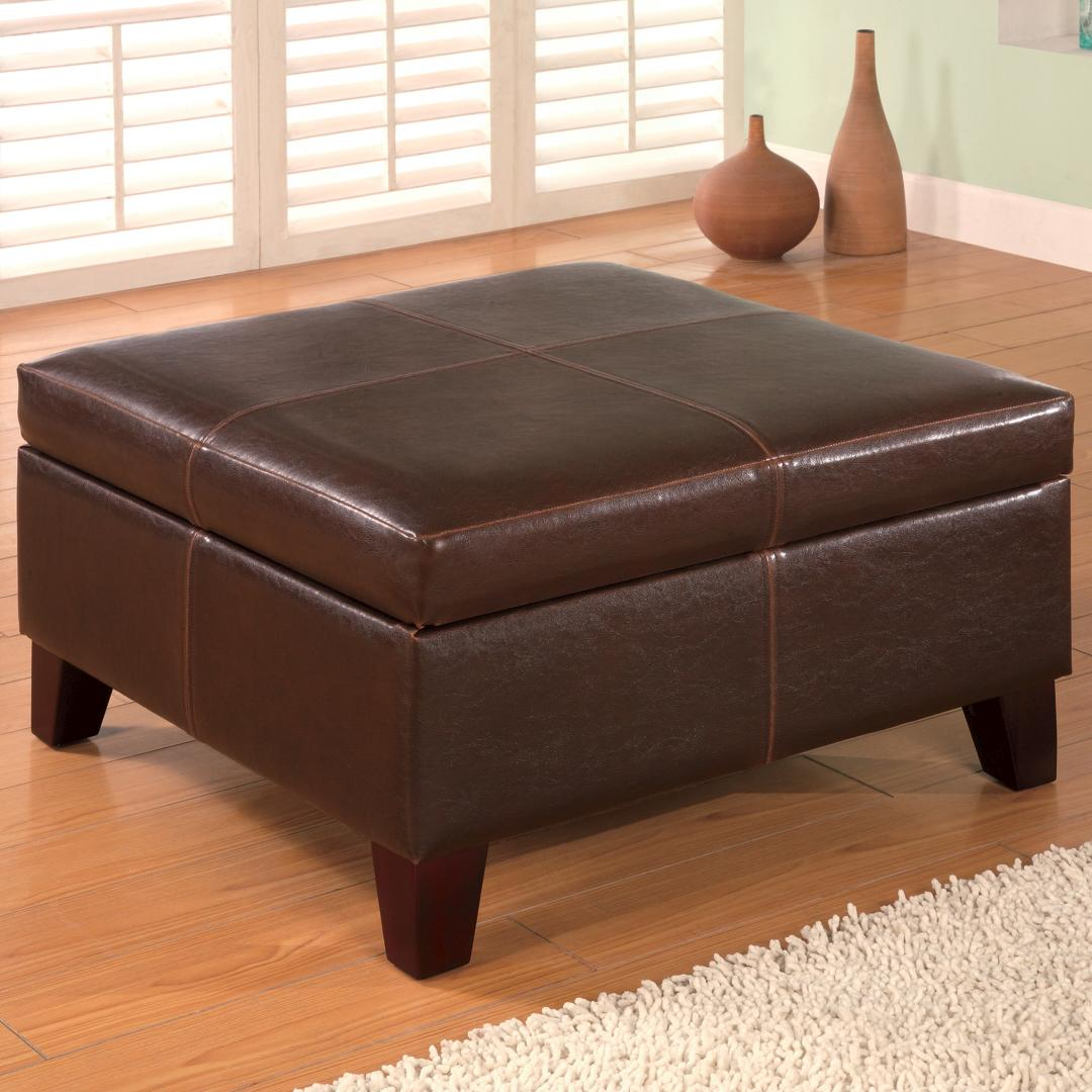 Coaster ottomans 501042 contemporary square faux leather for Furniture ottoman storage