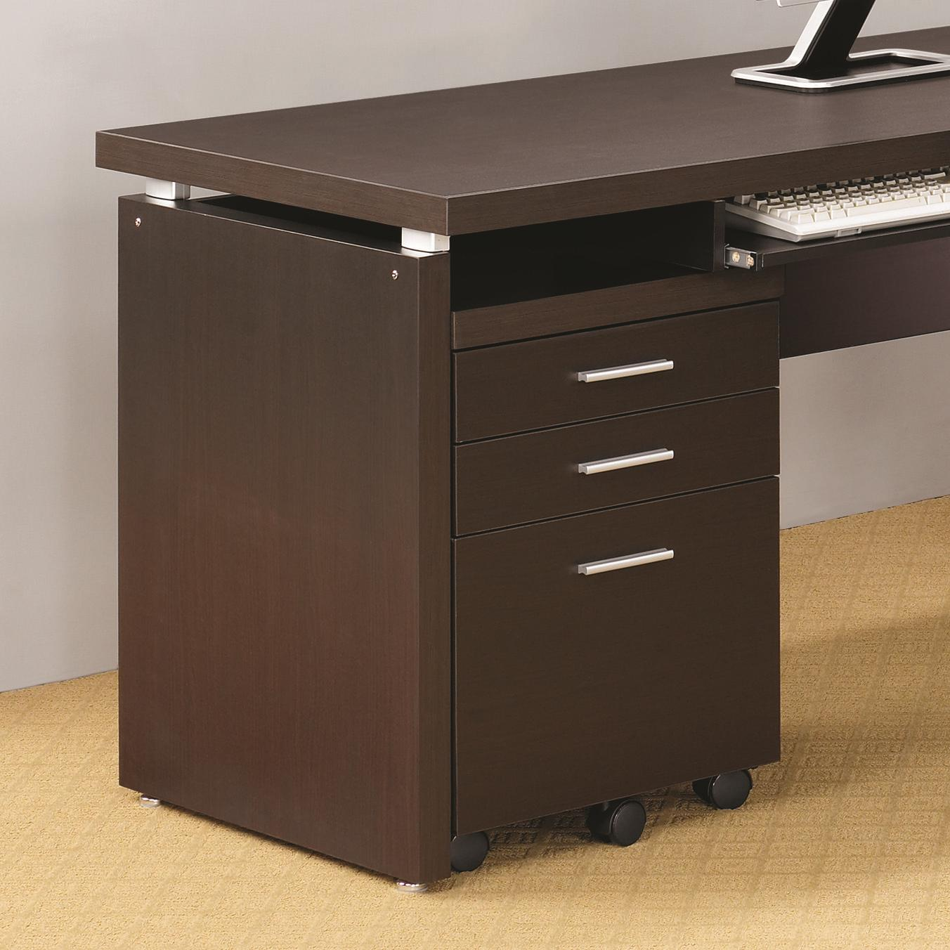 computer desk with filing cabinet coaster skylar 800894 mobile pedestal with 3 drawers and 13777
