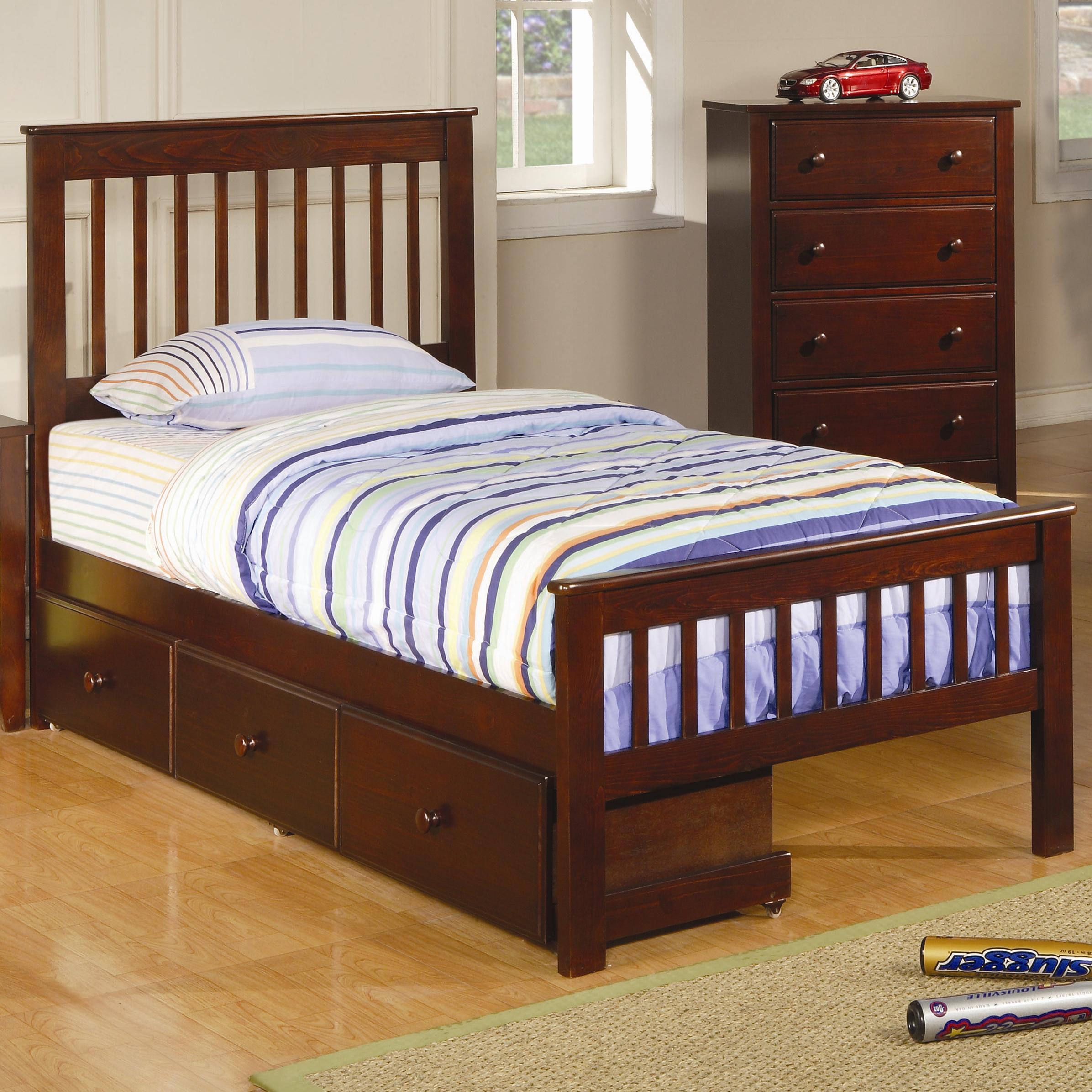 coaster parker twin slat bed with underbed storage drawer unit dunk bright furniture panel. Black Bedroom Furniture Sets. Home Design Ideas