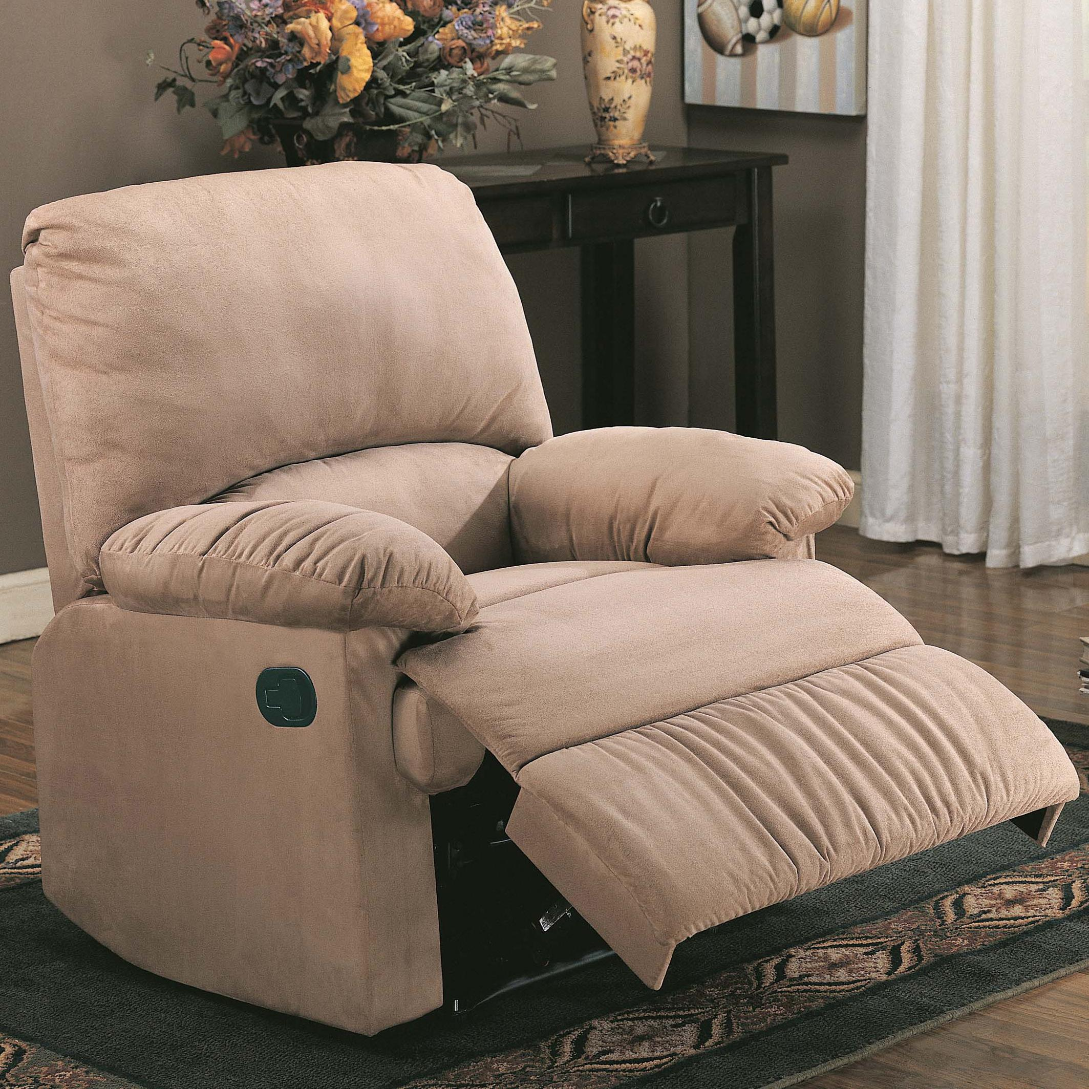 Coaster recliners casual microfiber recliner rife 39 s home for Sillon reclinable