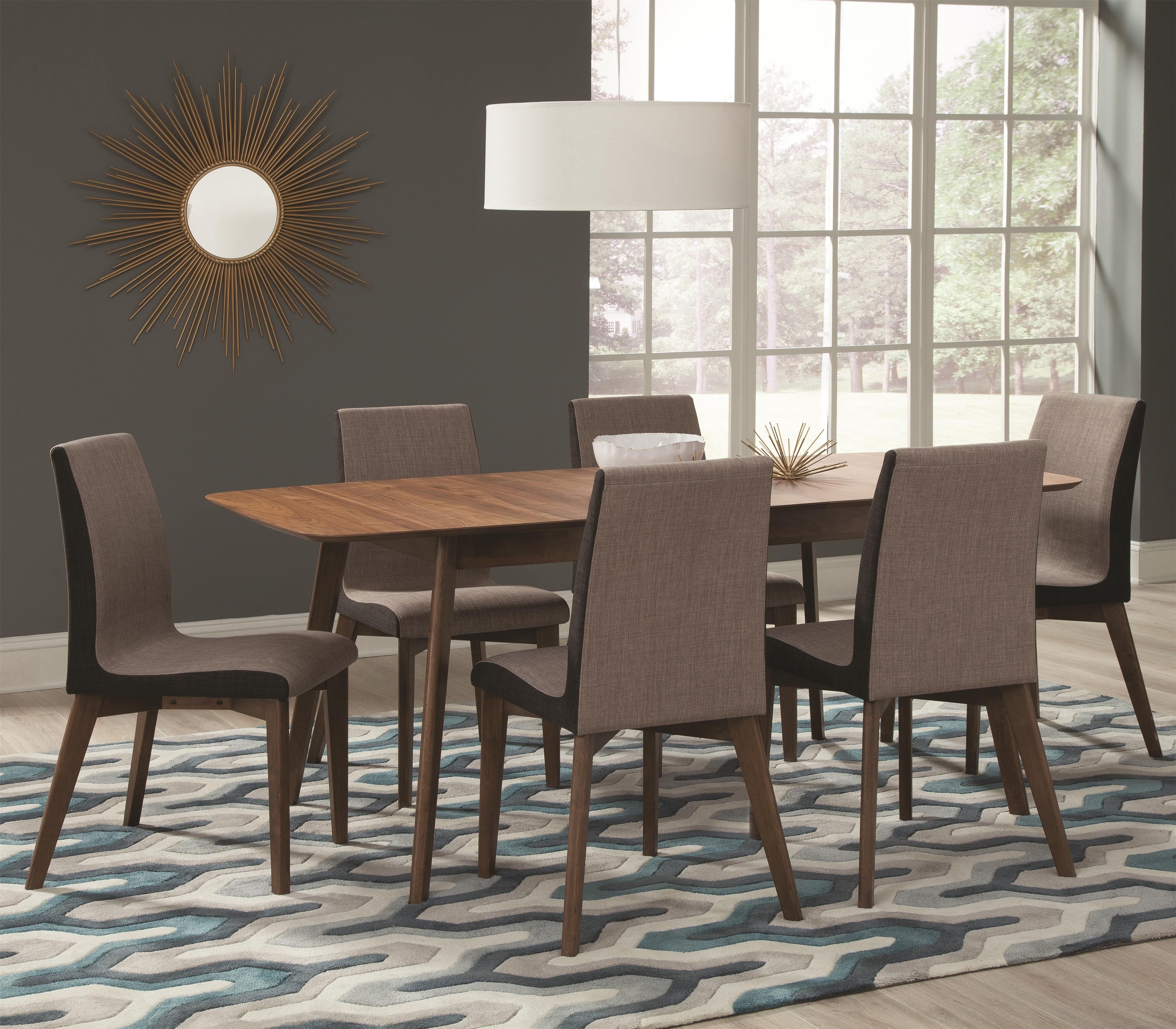 Coaster redbridge 7 piece table chair set with leaf for Dining room sets with leaf
