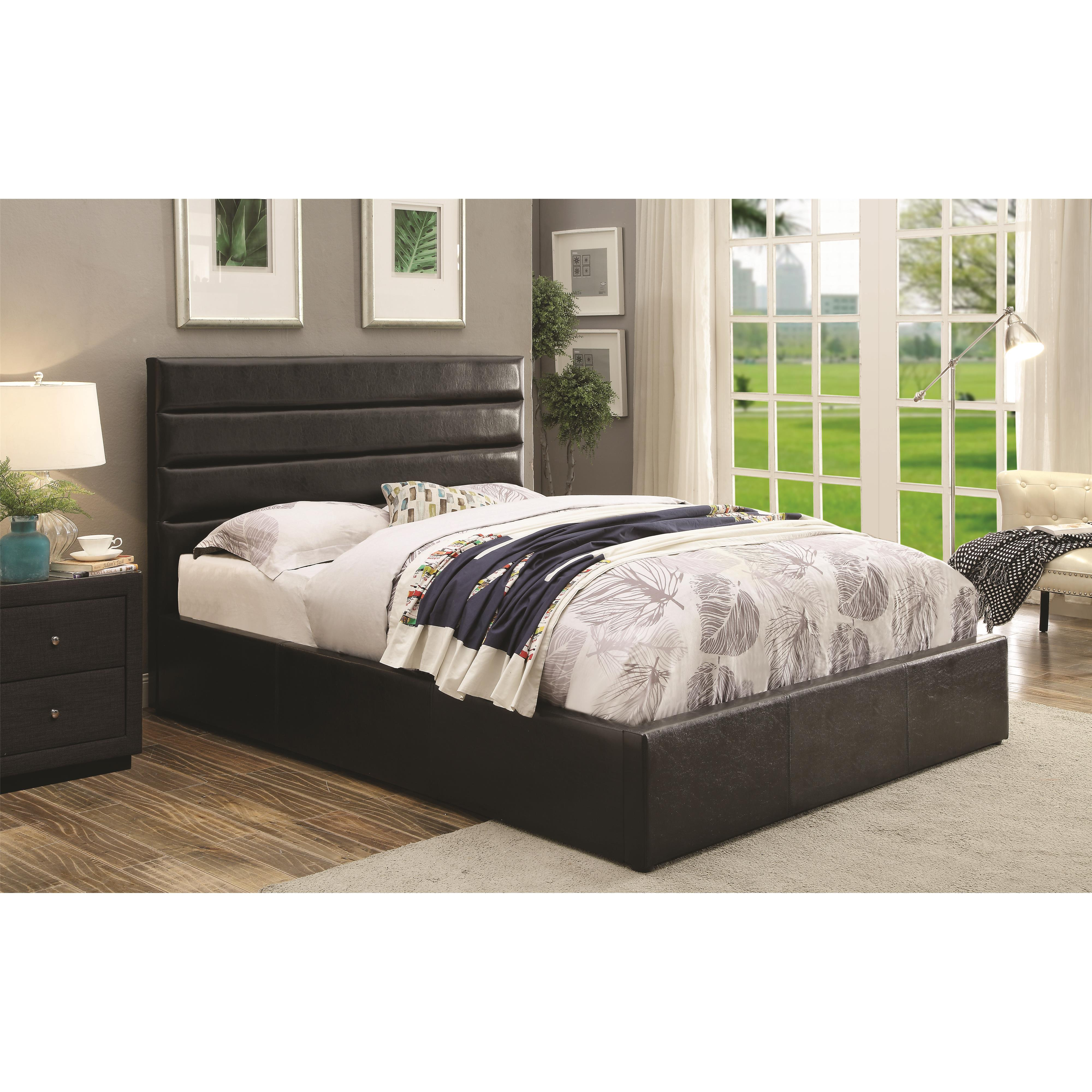 upholstered king bed with storage coaster riverbend 300469kw california king black