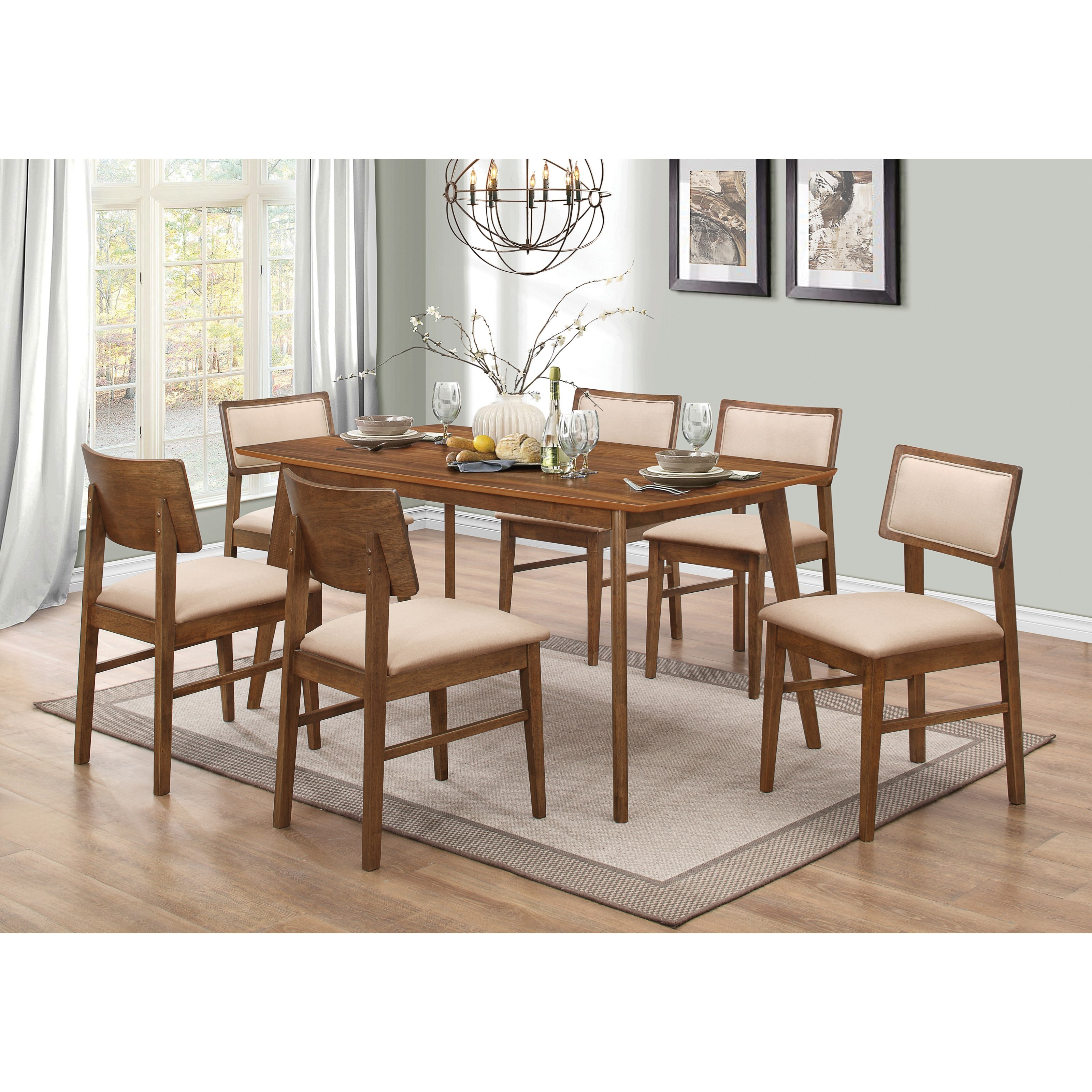 Coaster sasha retro table and chair set value city for Casual dining room sets