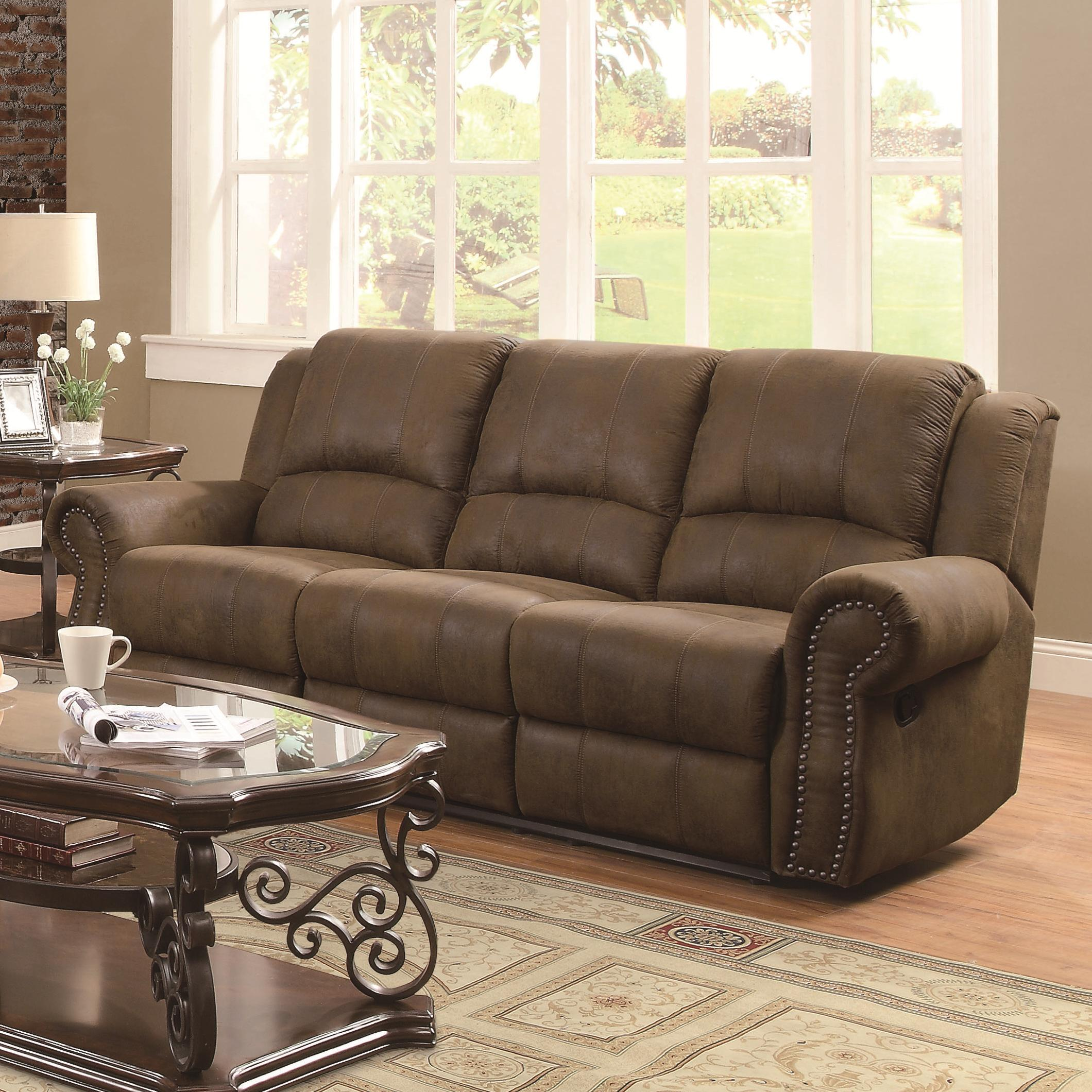 Coaster sir rawlinson 650151 traditional reclining sofa for Sofa with studs