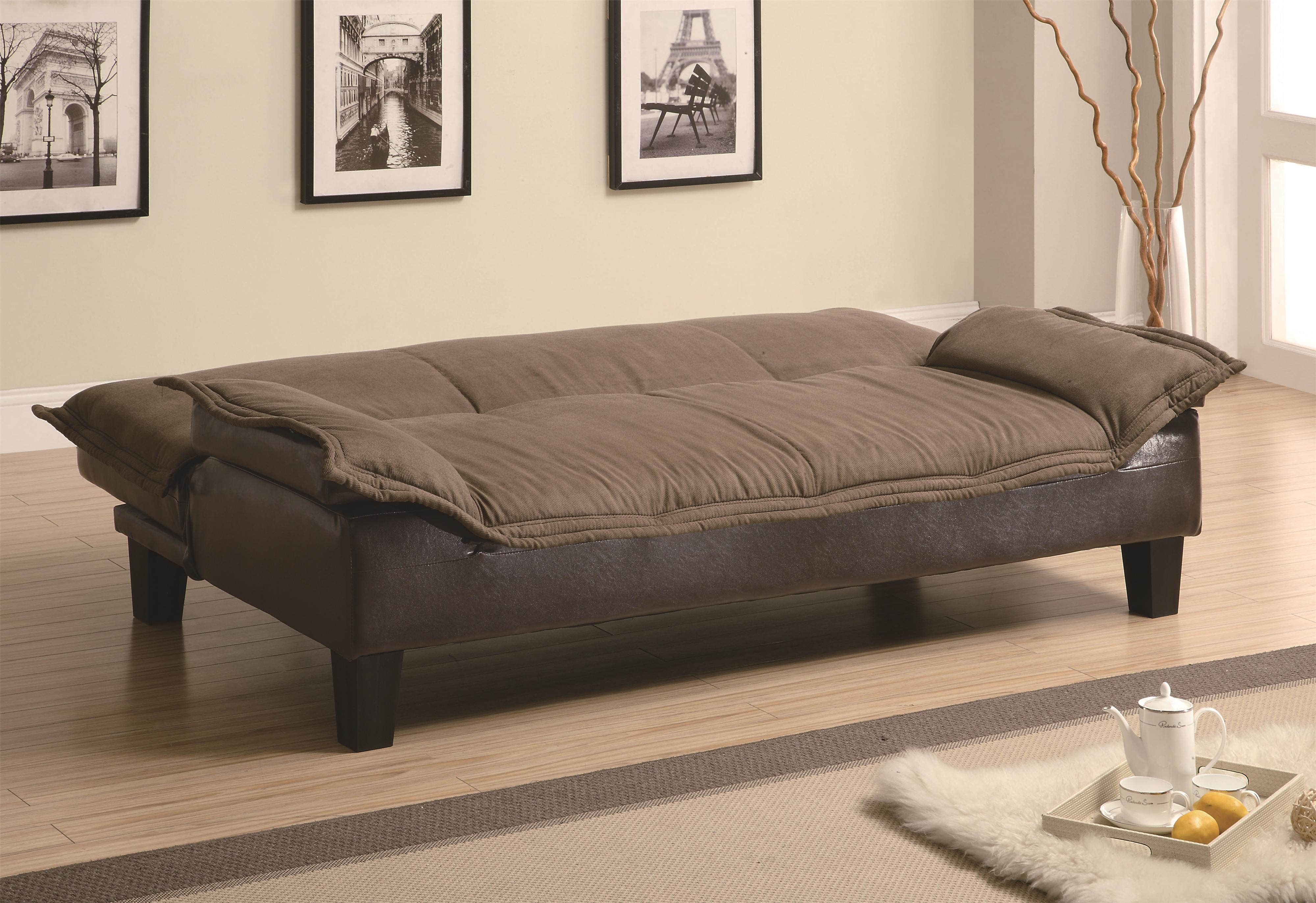 coaster sofa beds and futons 300301 ratchet back sofa bed with dark brown leather like base. Black Bedroom Furniture Sets. Home Design Ideas