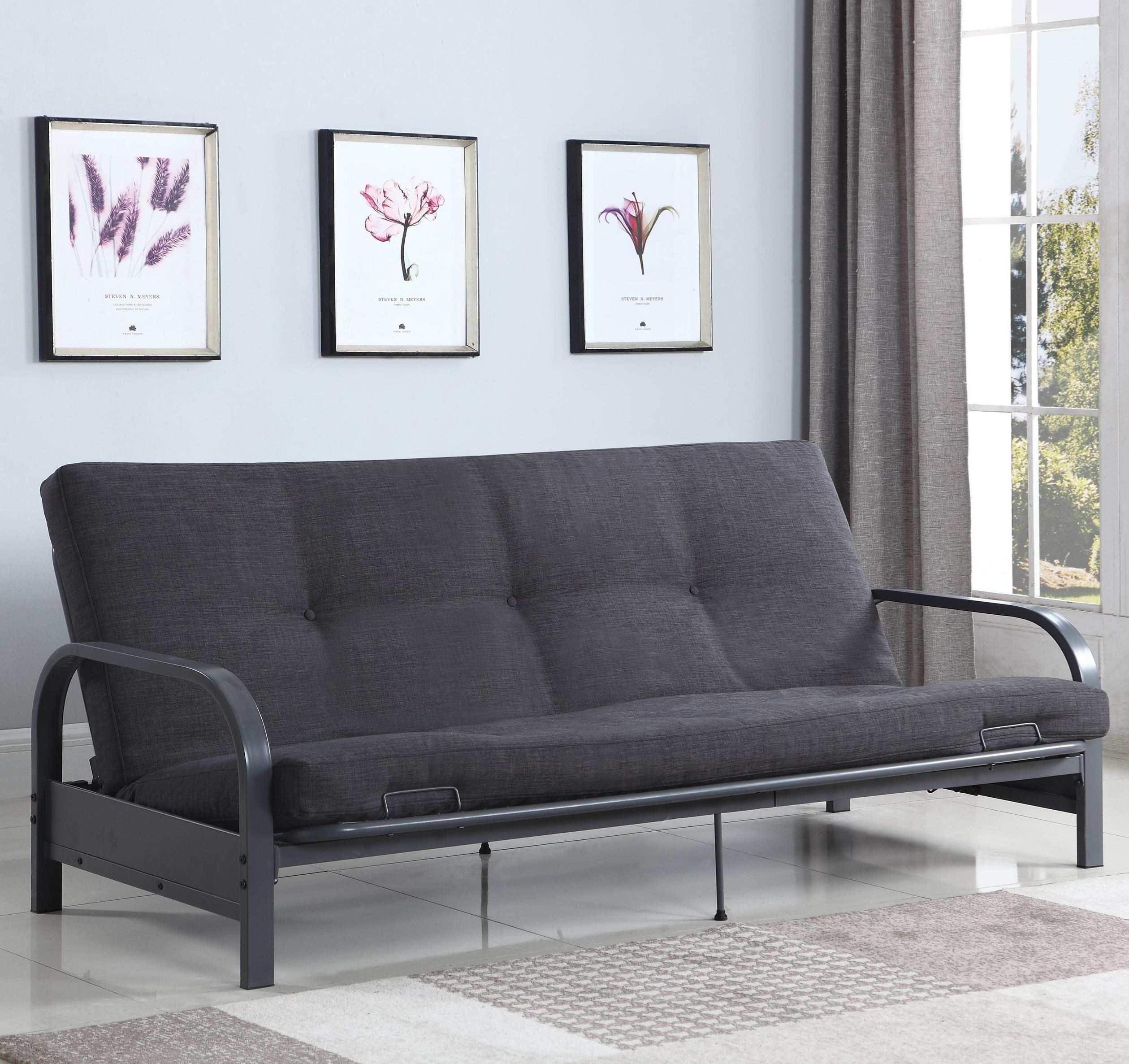 coaster sofa beds and futons 360008 contemporary futon with metal arms mattress not included. Black Bedroom Furniture Sets. Home Design Ideas