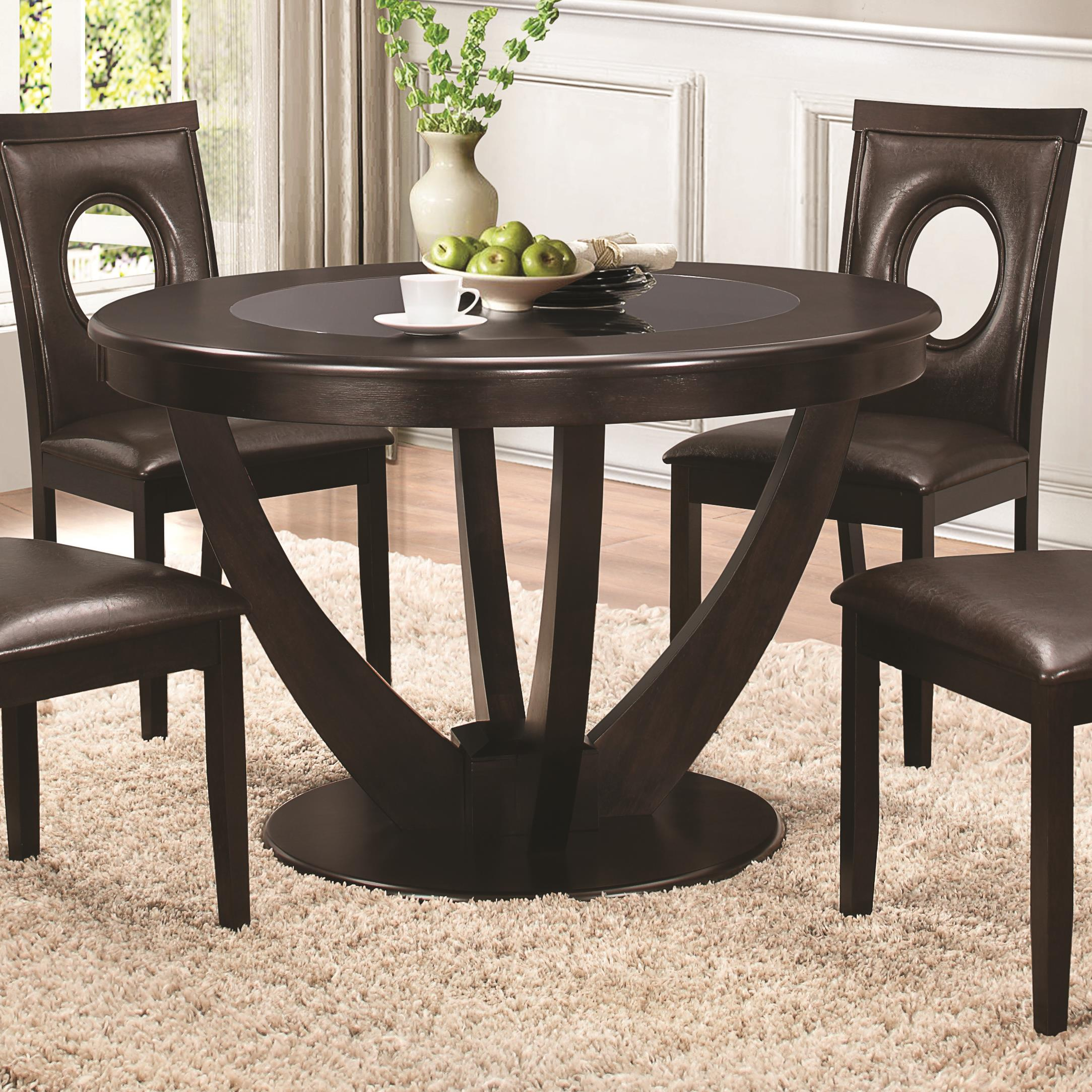 Coaster Stapleton Dining Table With Black Glass Top Del