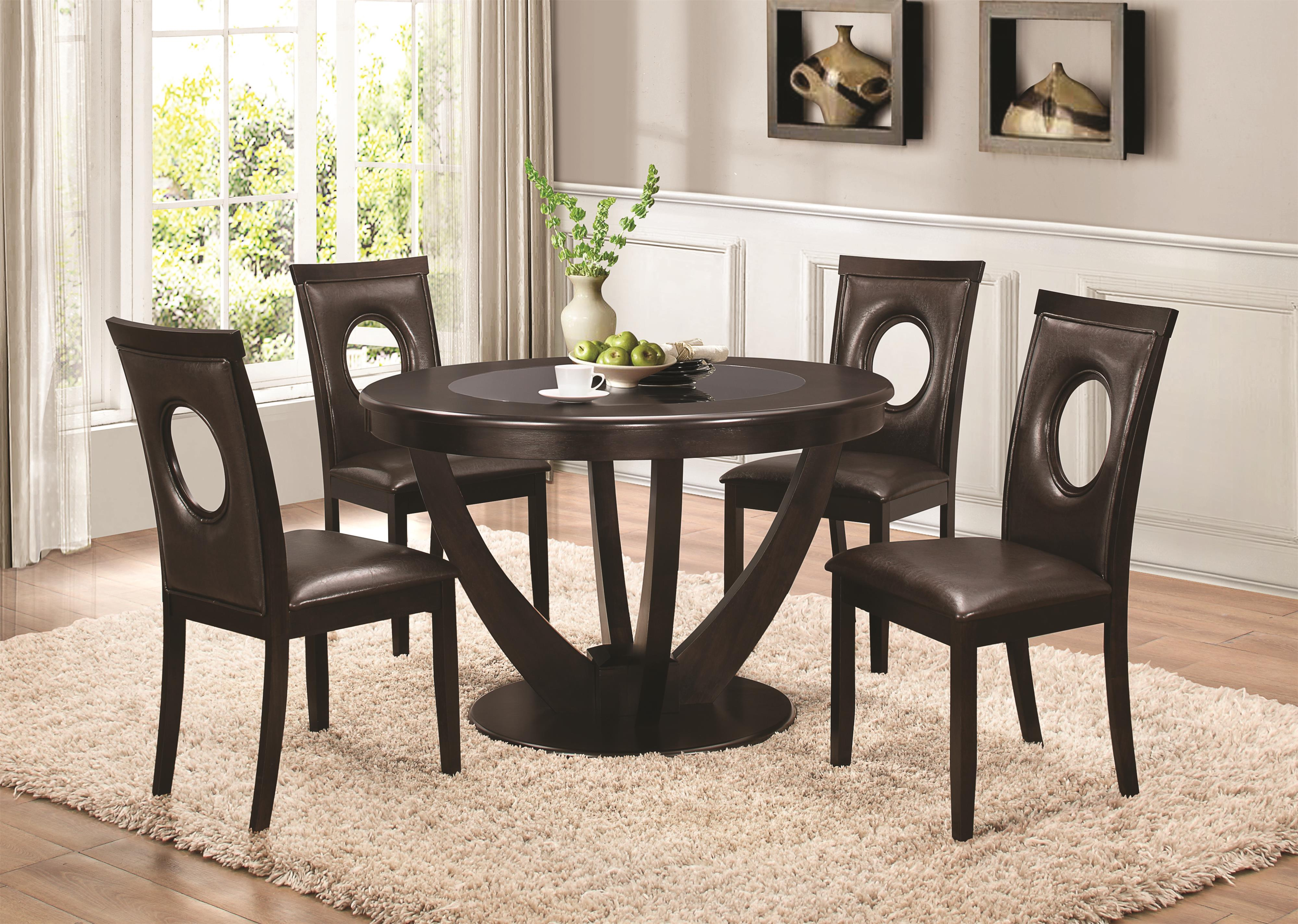 Coaster Stapleton Dining Table With Black Glass Top Dunk