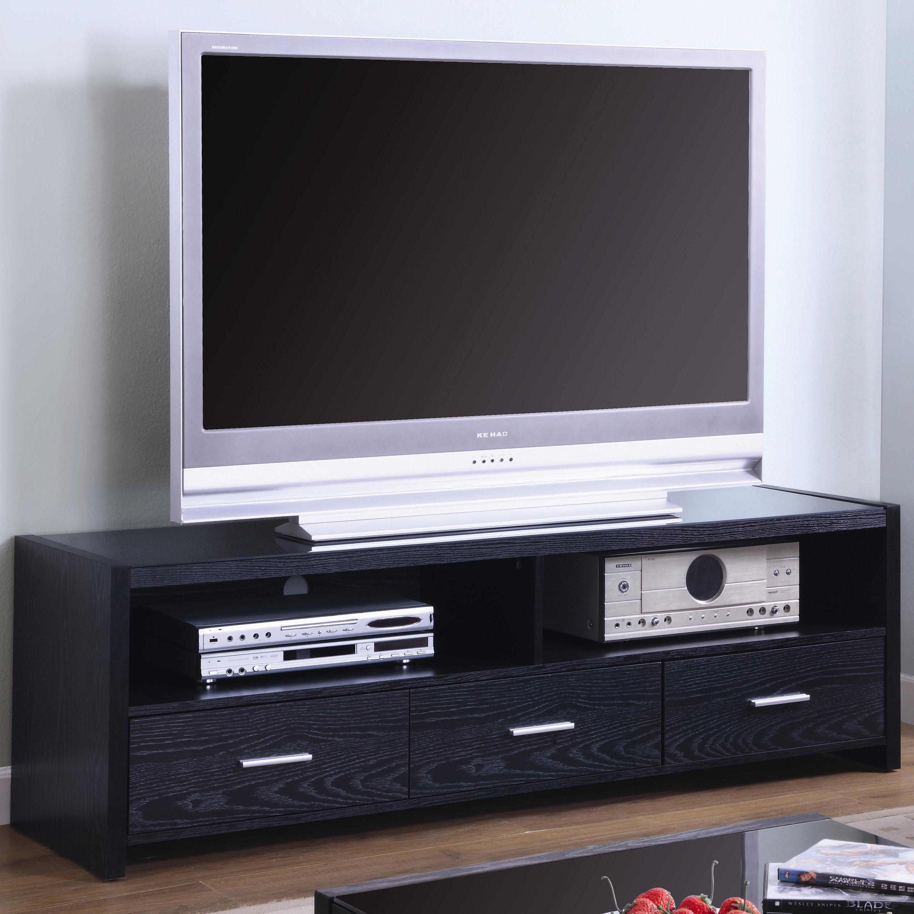 Top Coaster TV Stands Contemporary Media Console with Shelves and  PC67
