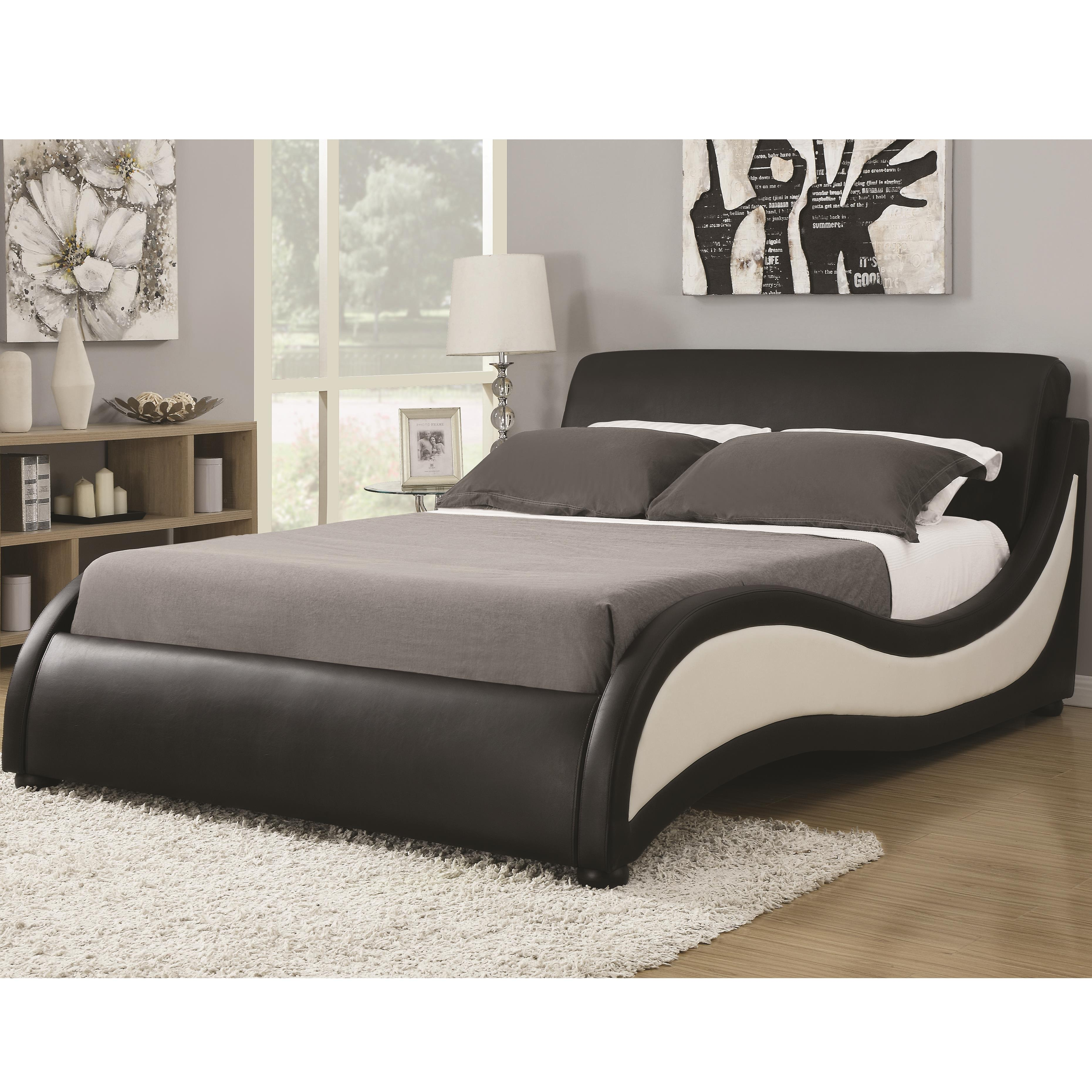 Coaster upholstered beds 300170q queen niguel bed for Upholstered queen bed frame