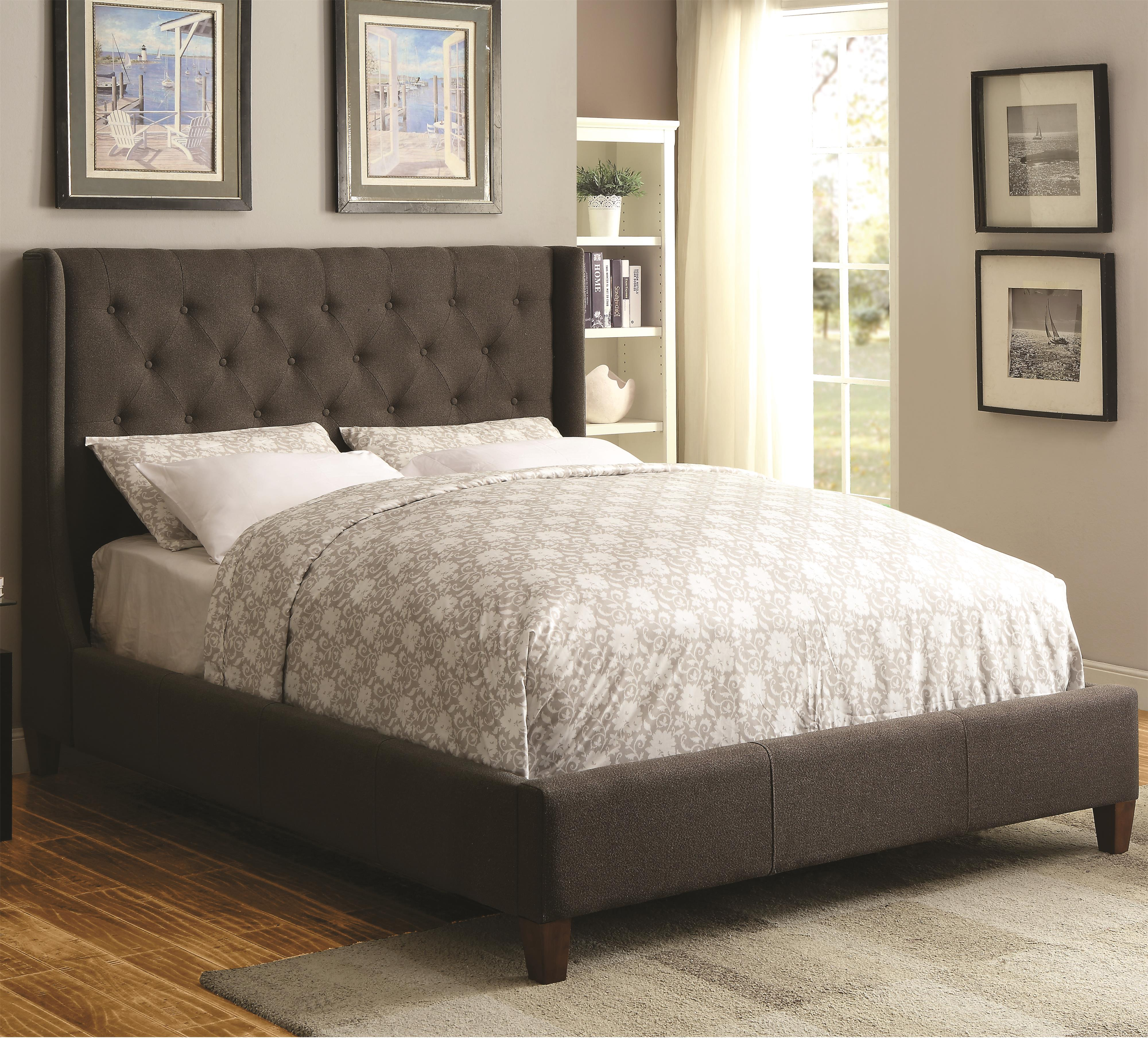 Coaster upholstered beds 300453ke upholstered king bed for Upholstered beds