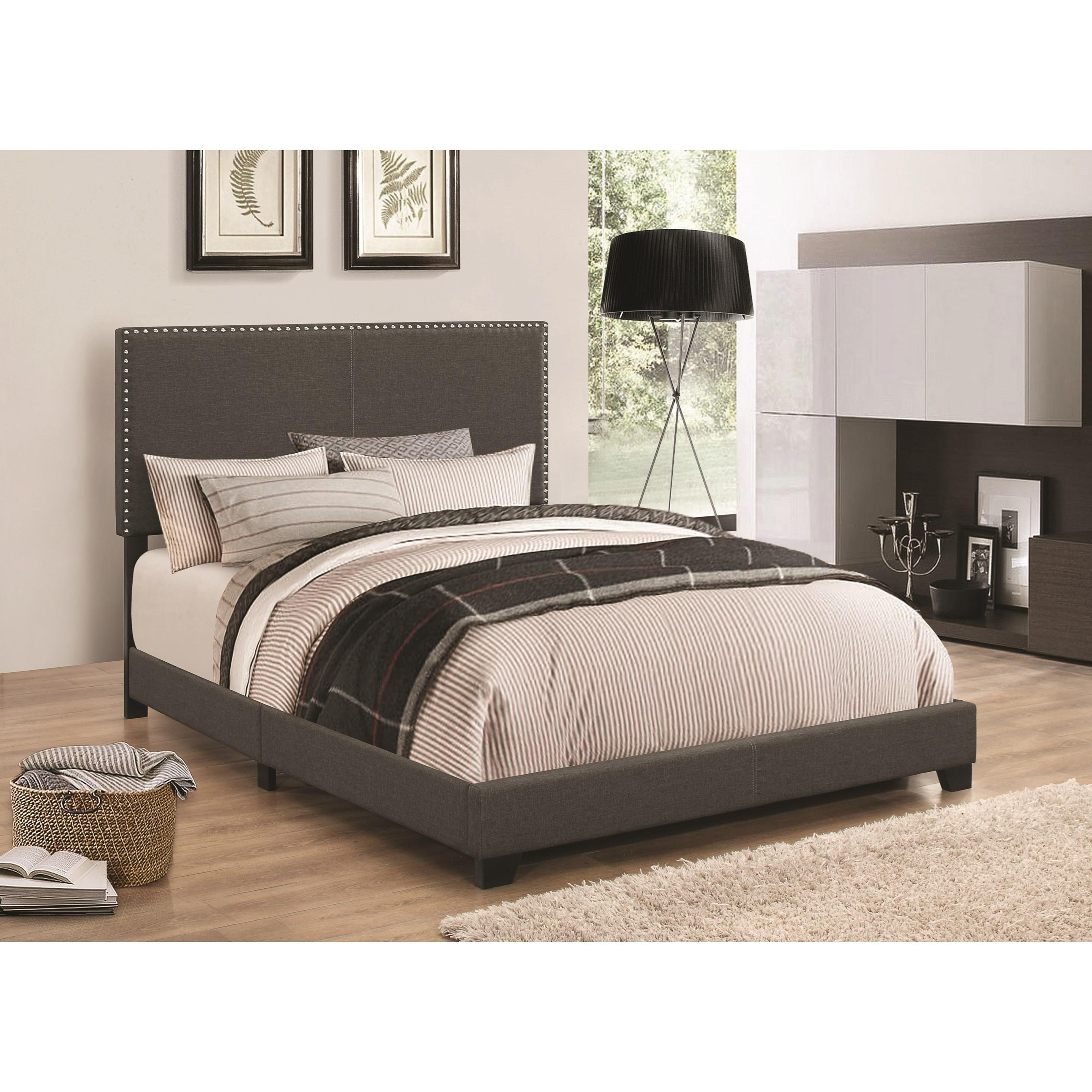 Coaster upholstered beds 350061f upholstered full bed with for Upholstered beds
