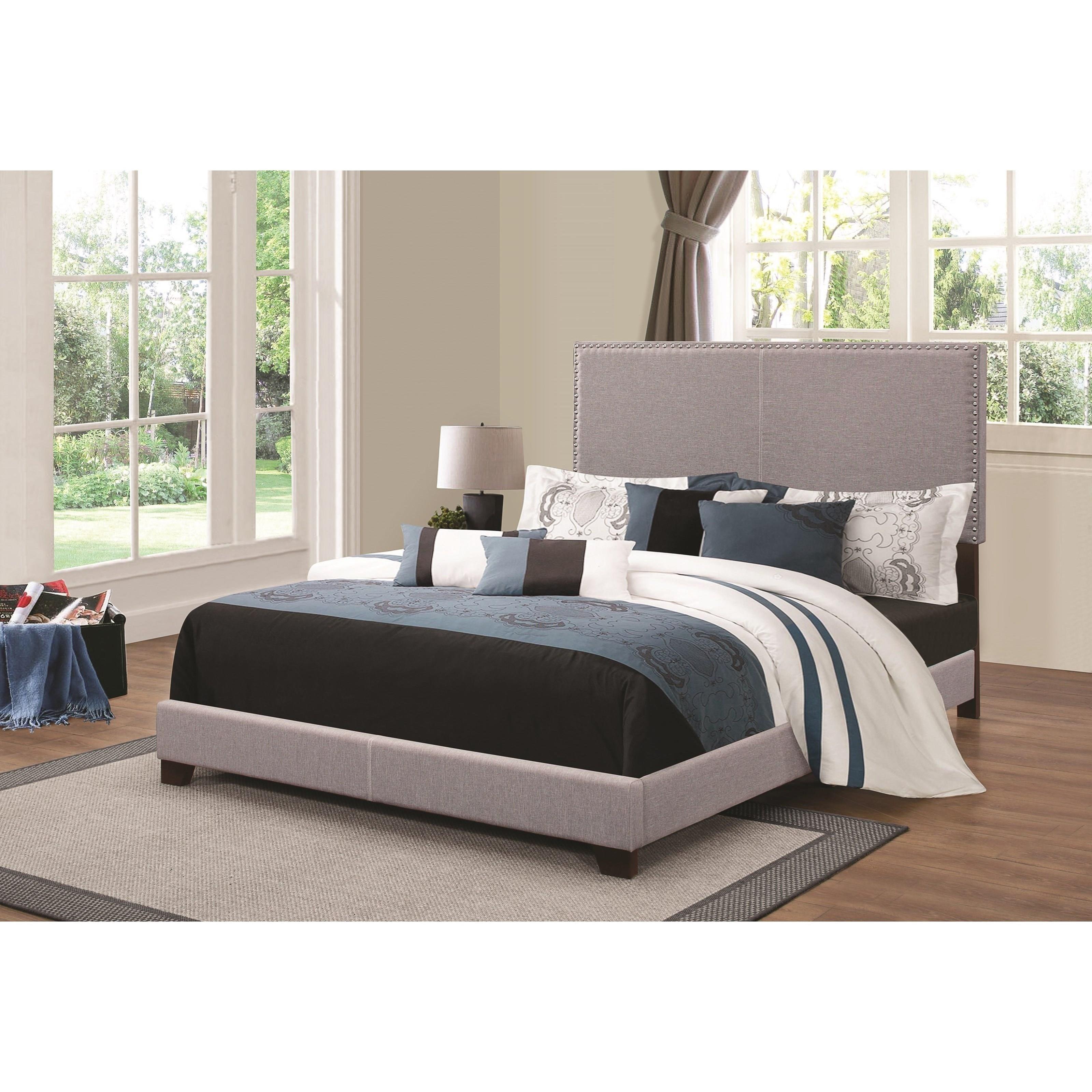 Coaster upholstered beds upholstered full bed with for Upholstered full bed