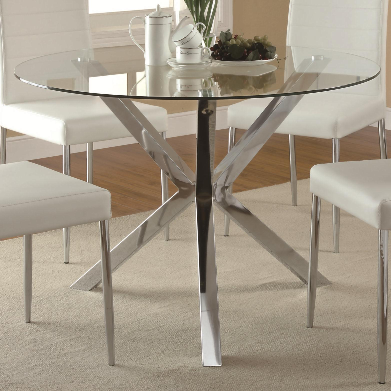 Coaster vance 120760 contemporary glass top dining table for Unusual glass dining tables
