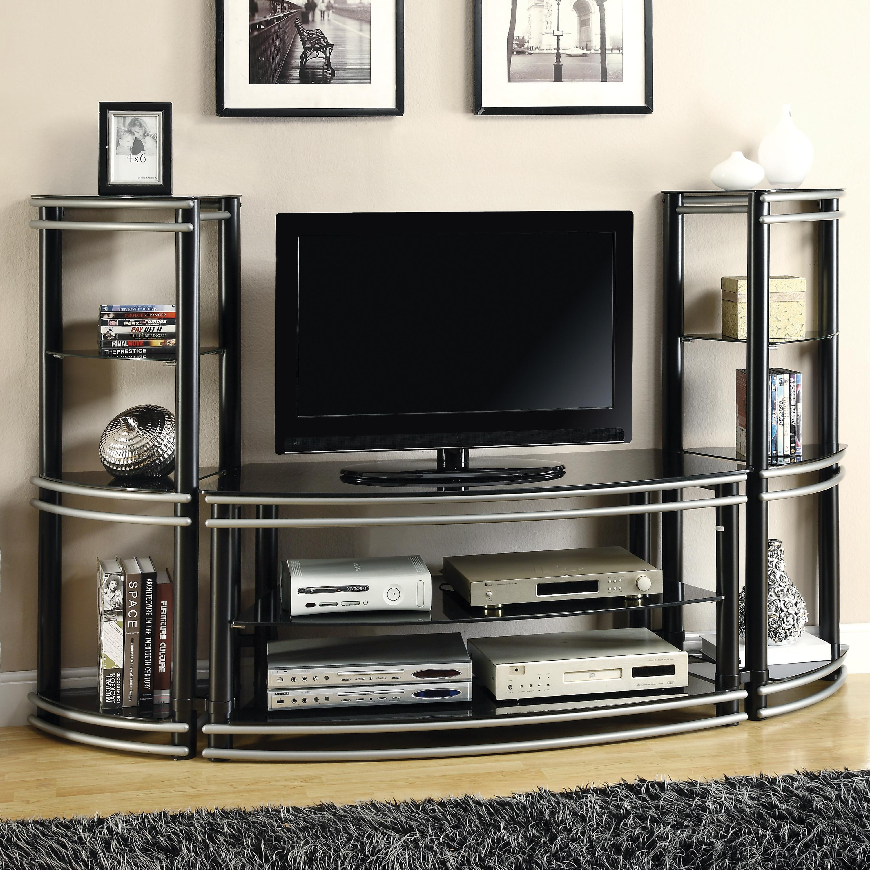 coaster entertainment units demilune black silver finish tv stand 2 media towers rife 39 s home. Black Bedroom Furniture Sets. Home Design Ideas