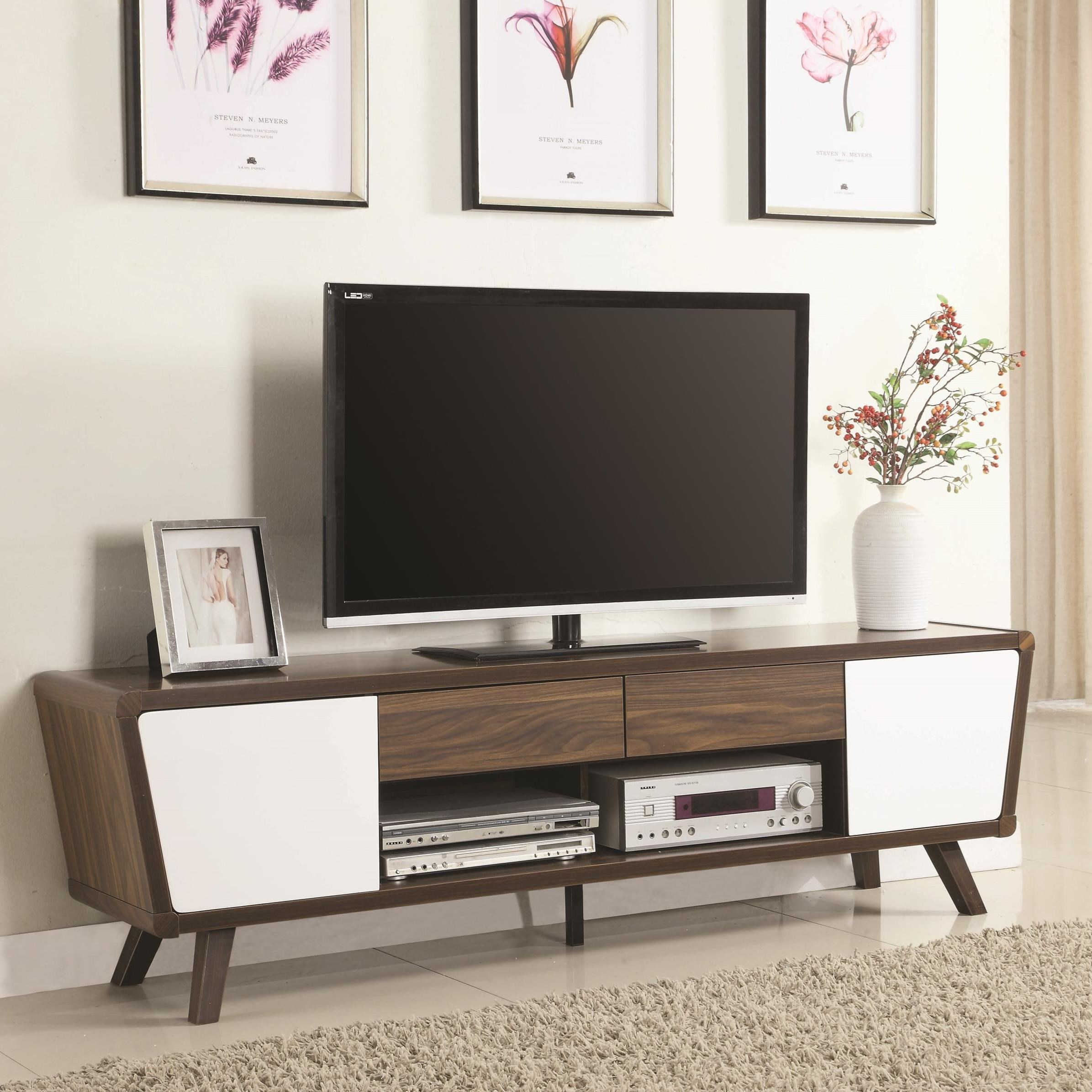 Coaster entertainment units 700793 two tone mid century for Stylish tv stands furniture