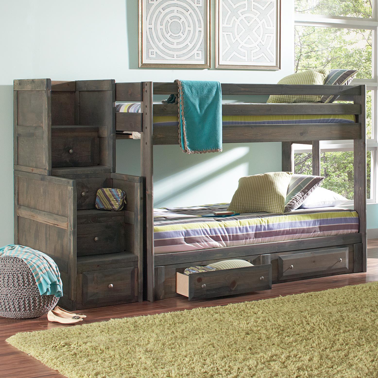 coaster wrangle hill full over full bunk bed with under bed storage del sol furniture bunk beds. Black Bedroom Furniture Sets. Home Design Ideas