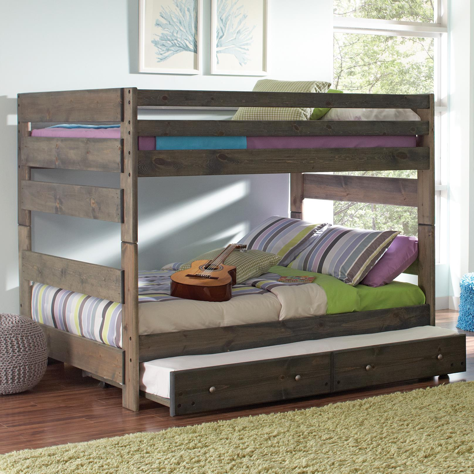 Maroon Colour Bedroom Bedroom Sets Value City Furniture Bedroom Wall Color Ideas Bedroom Wardrobe Design: Coaster Wrangle Hill Full Over Full Bunk Bed With Pull Out