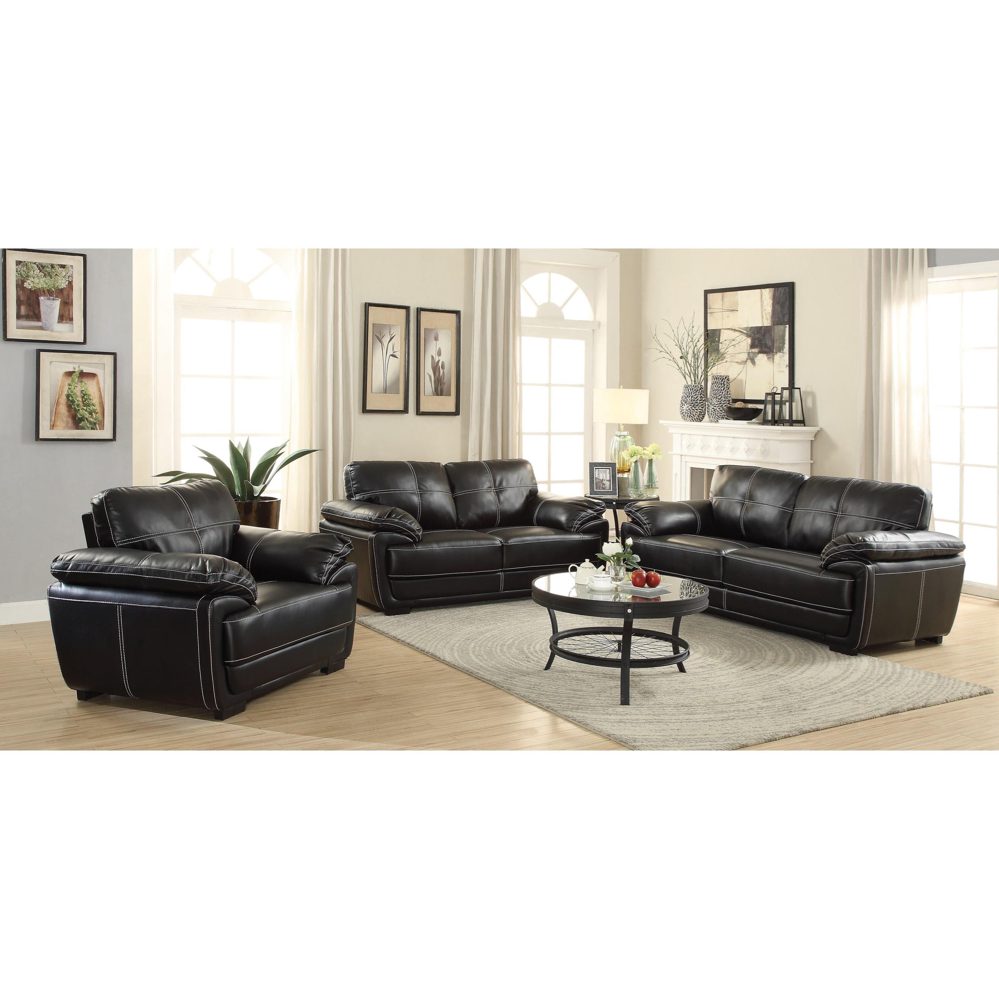 Coaster zenon 551252 plush loveseat with baseball for Plush living room furniture