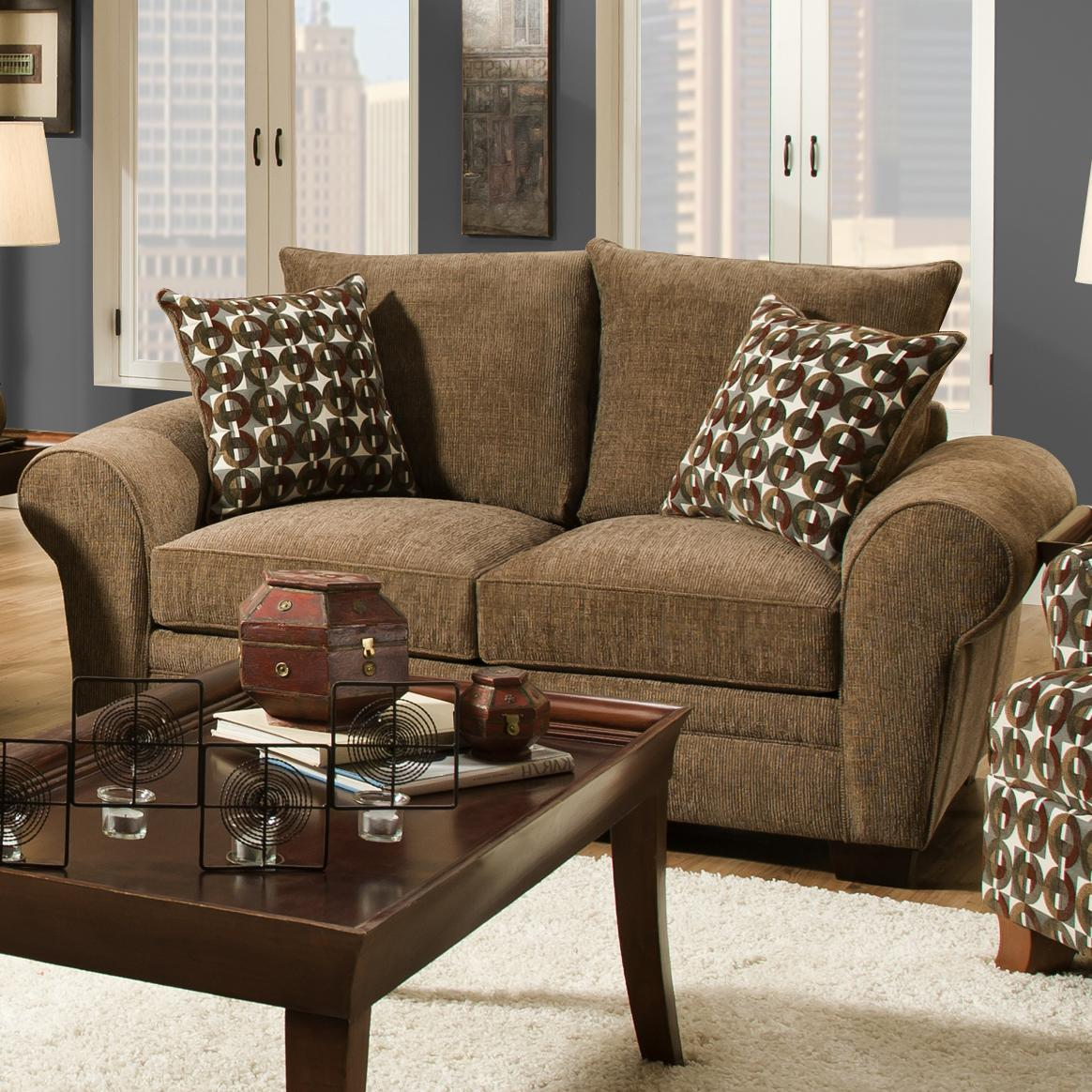 Corinthian 5460 traditional styled loveseat with comfortable look for casual family living for Comfortable living room chairs on clearance